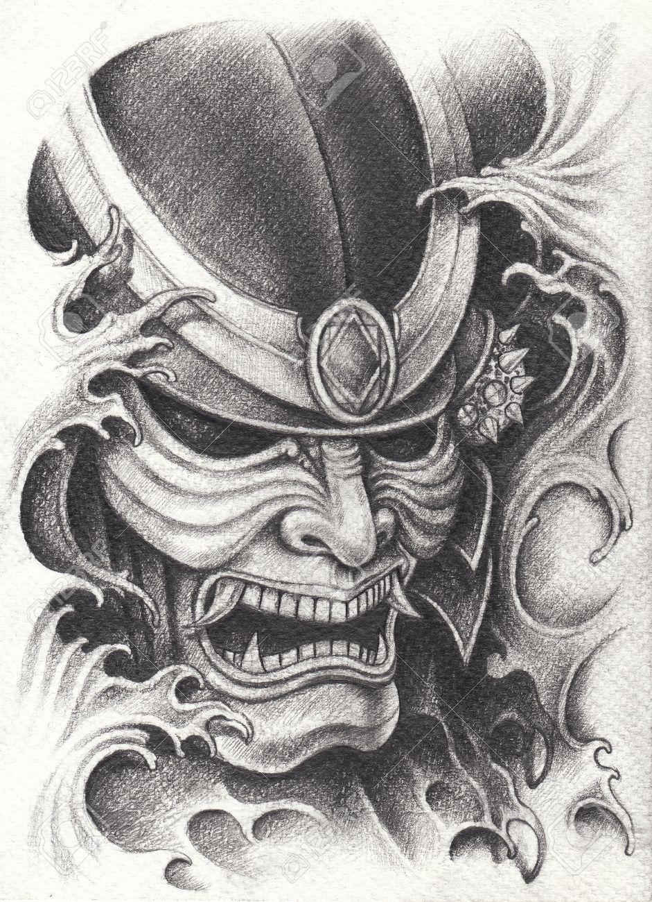Diseño Del Tatuaje Del Guerrero Del Samurai Dibujo De Lápiz De Mano