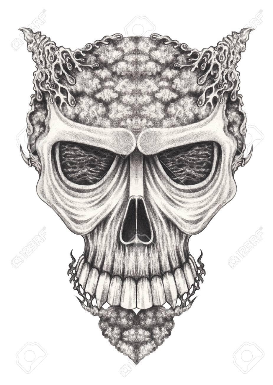 Arte Surrealista Dibujo De Lapiz Sobre Papel Skull Hand Fotos