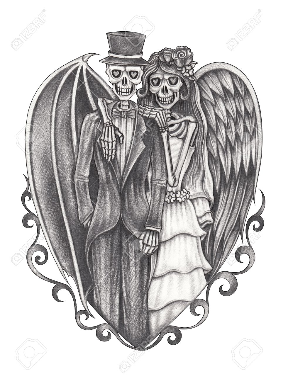 Art devil and angel wedding skulls hand pencil drawing on paper stock photo