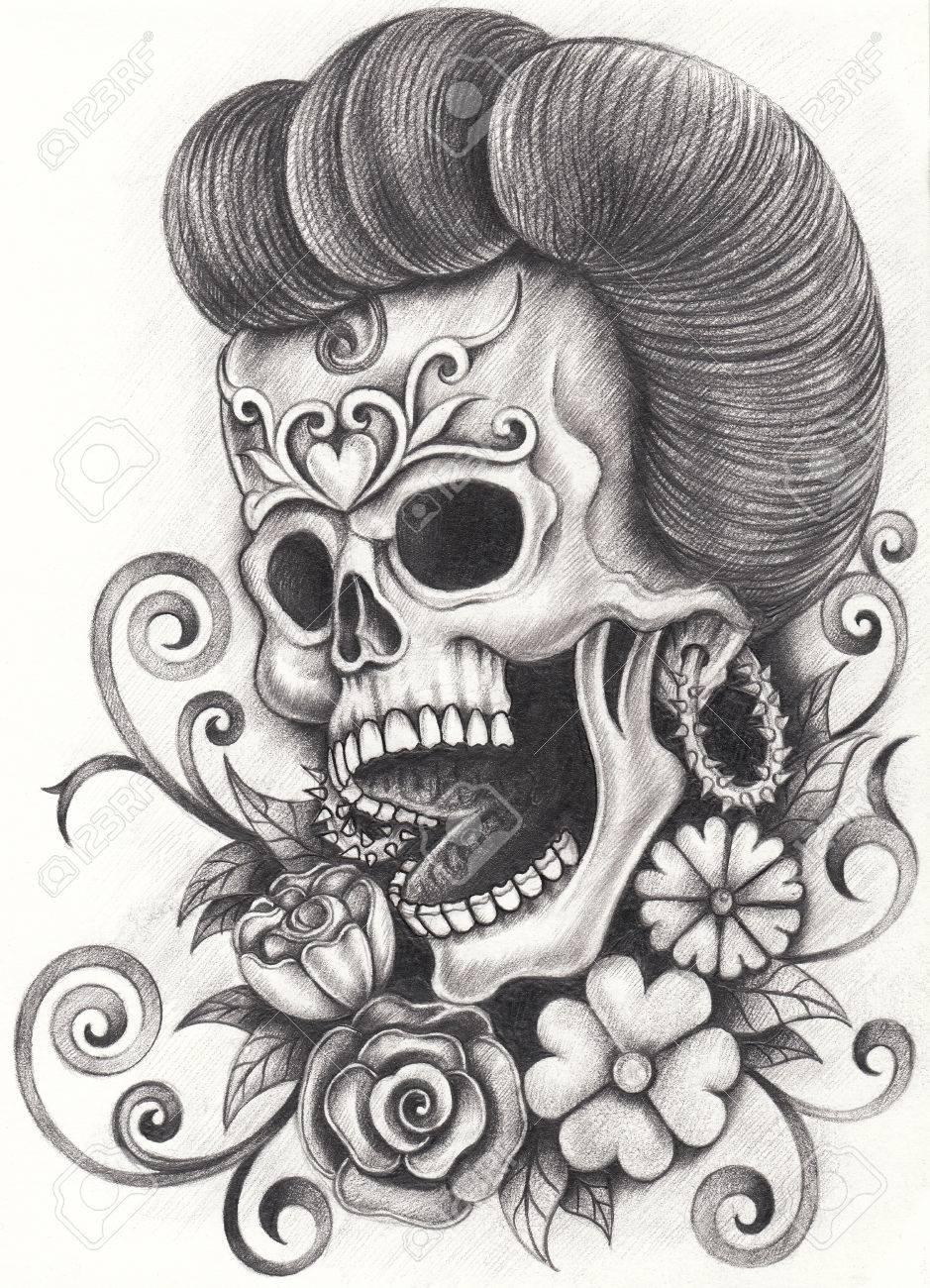 Día Del Cráneo Del Arte De Los Muertos Dibujo A Lápiz De La Mano En