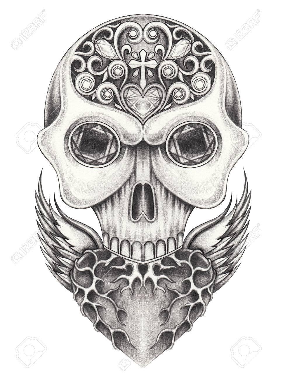 Kunst Flügel Herz Mischung Schädel.Hand Bleistift Zeichnung Auf ...