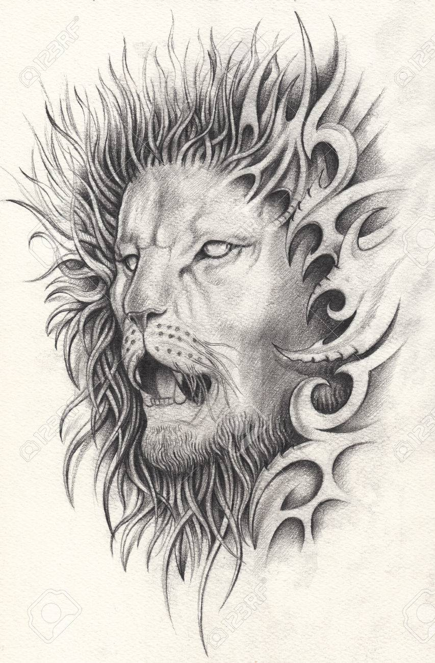Art surreal lion tattoo hand pencil drawing on paper stock photo 84606240