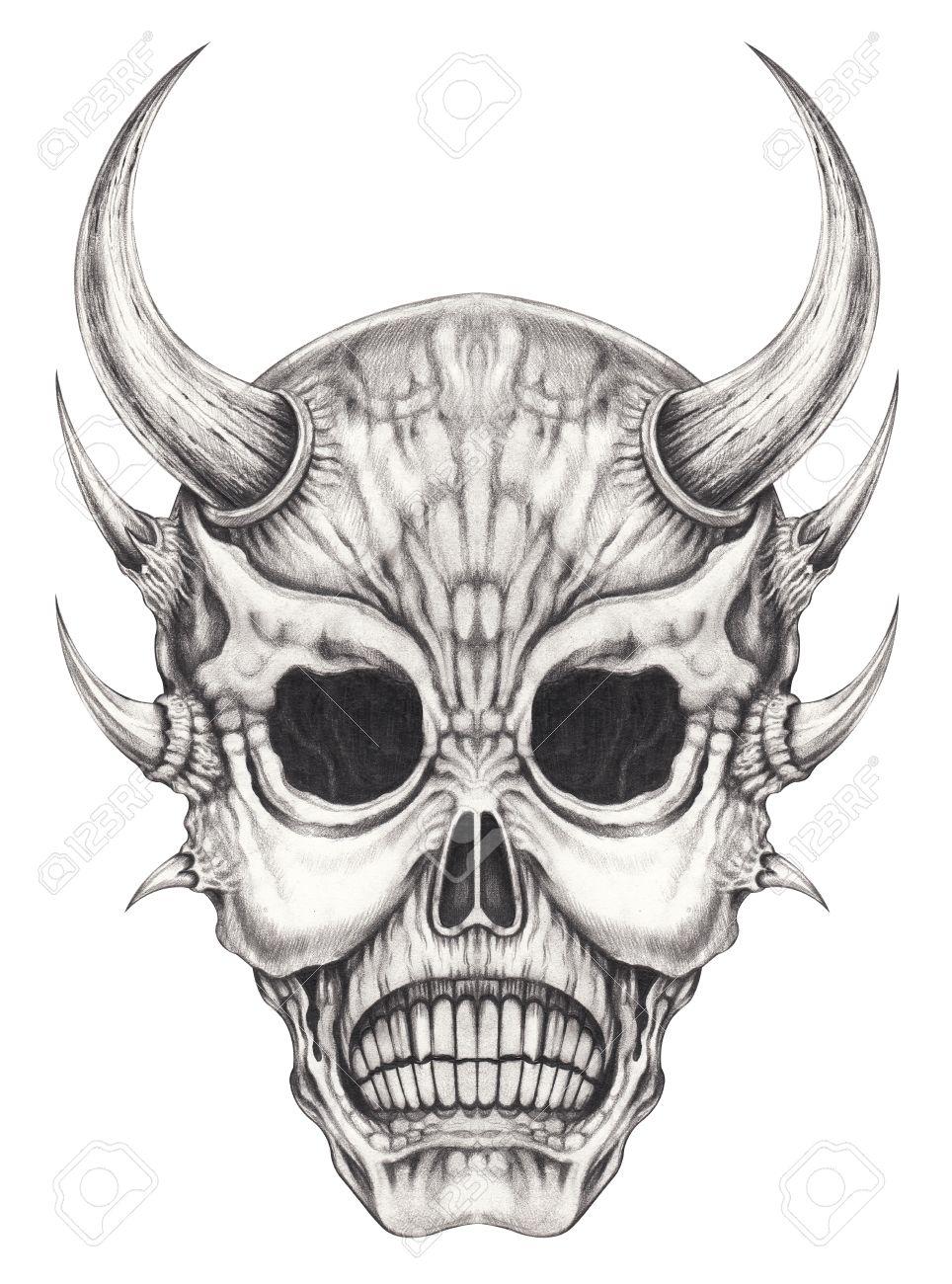 Art devil skull tattoo hand pencil drawing on paper