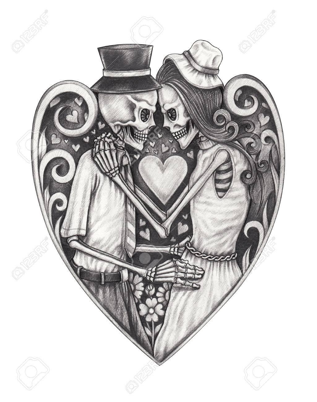 Art design mariage de crânes amoureux. Dessin au crayon à la main sur  papier. 46b160631b1a3