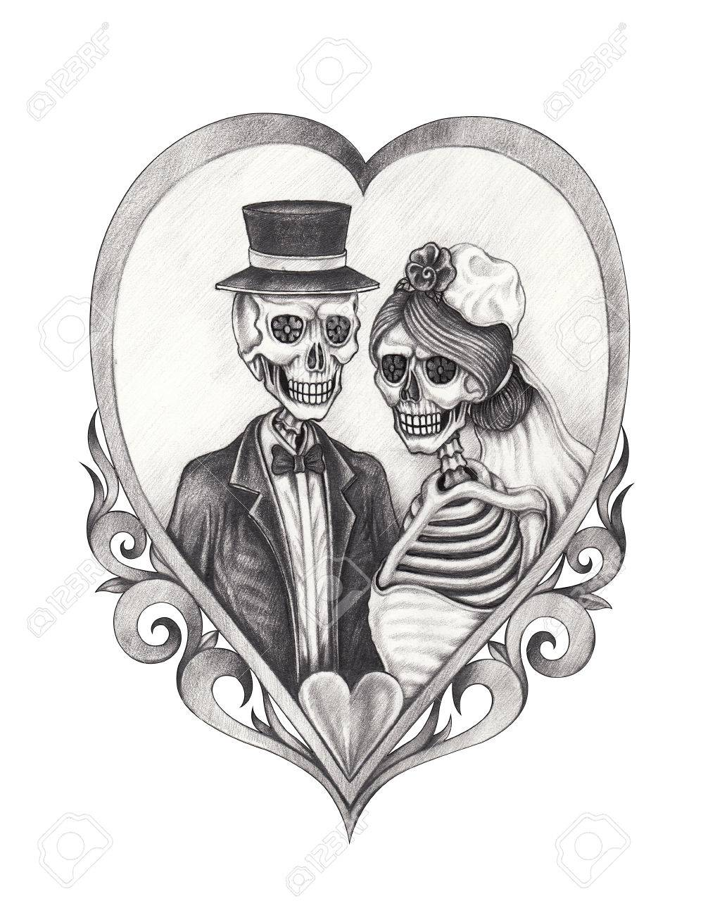 Art design skull wedding in love hand pencil drawing on paper stock photo