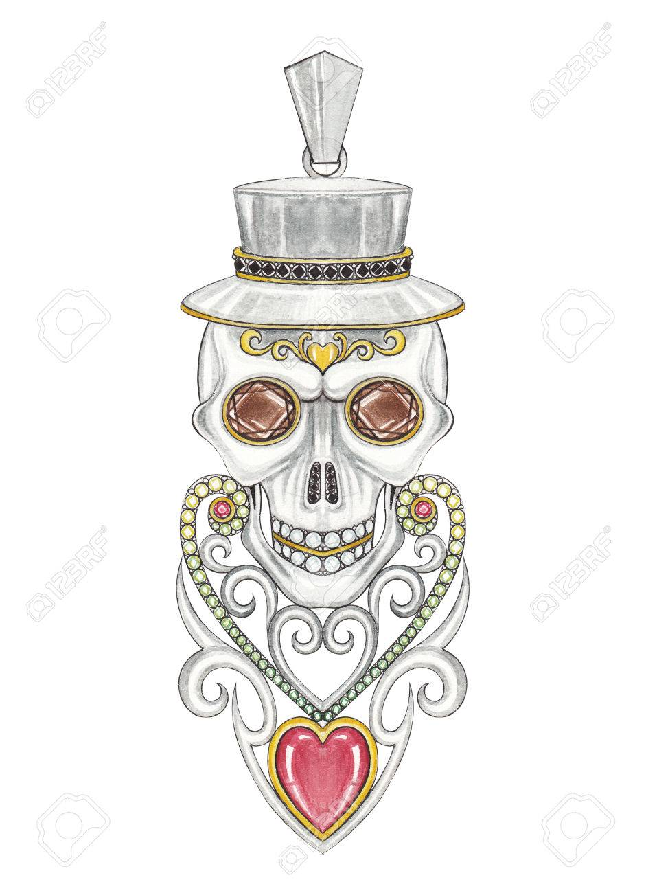 Jewelry Design Heart Vintage Mix Skull Pendant Hand Drawing