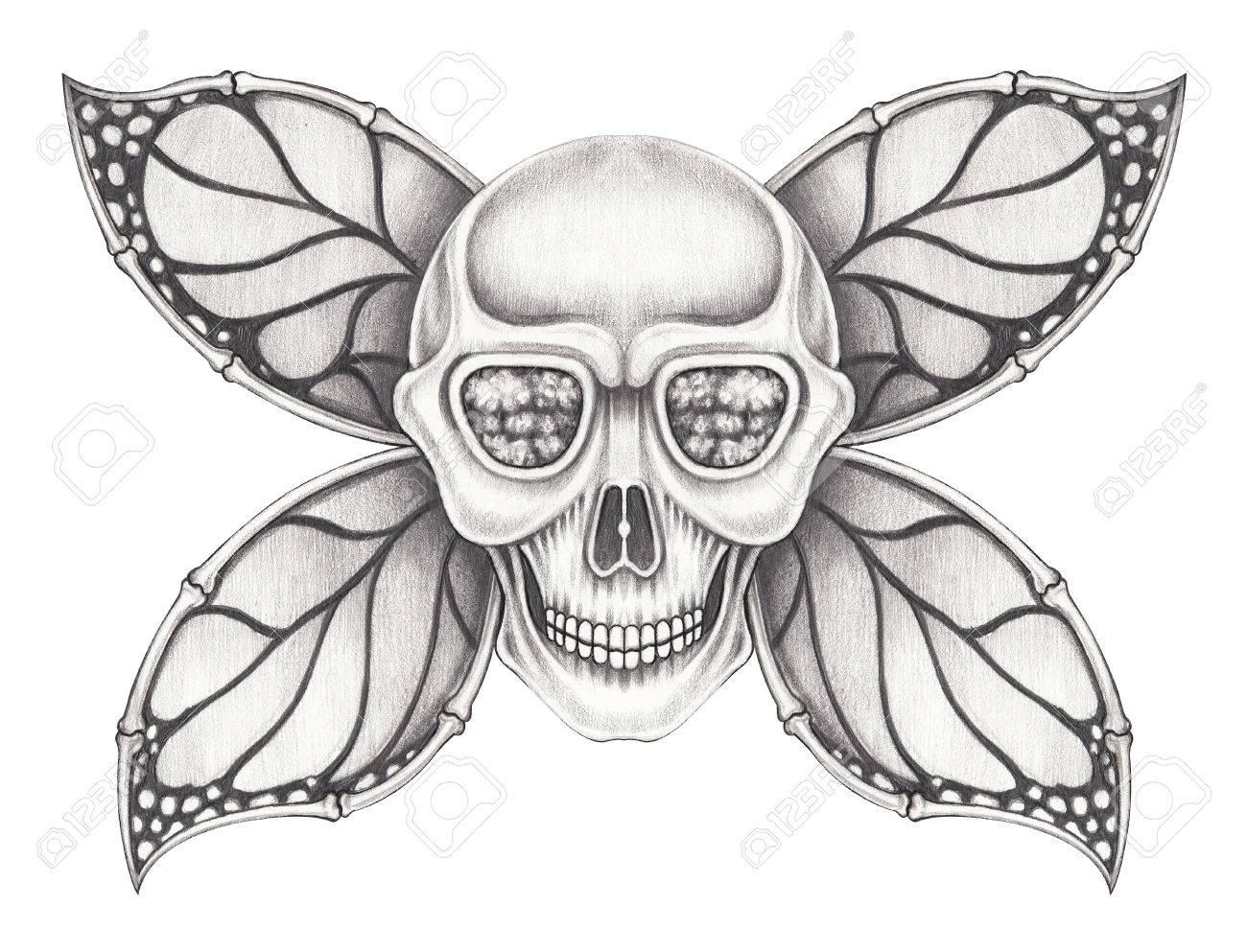 Aile De Papillon Dessin art ailes papillon crâne.hand crayon dessin sur papier. banque d
