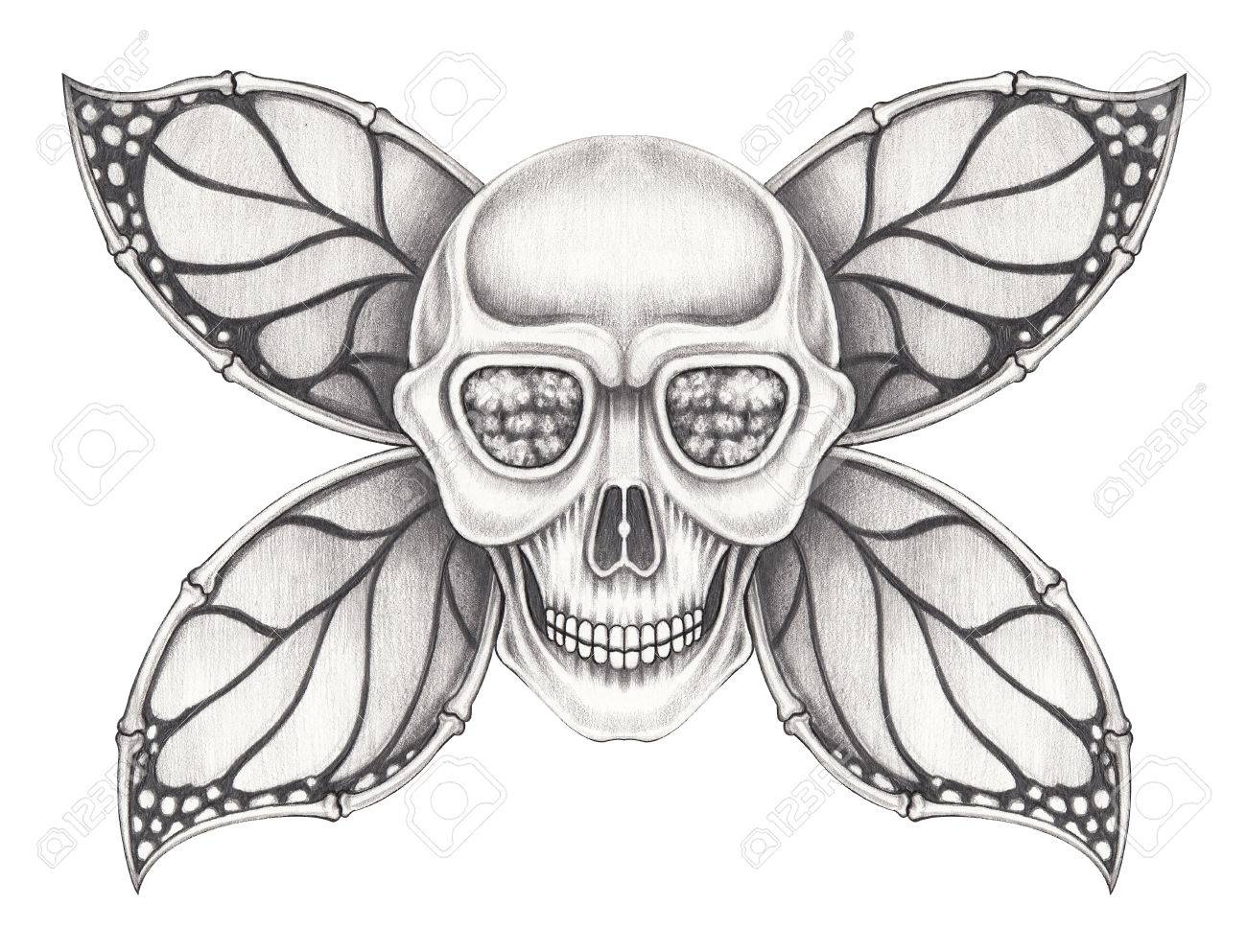 Art wings butterfly skull hand pencil drawing on paper