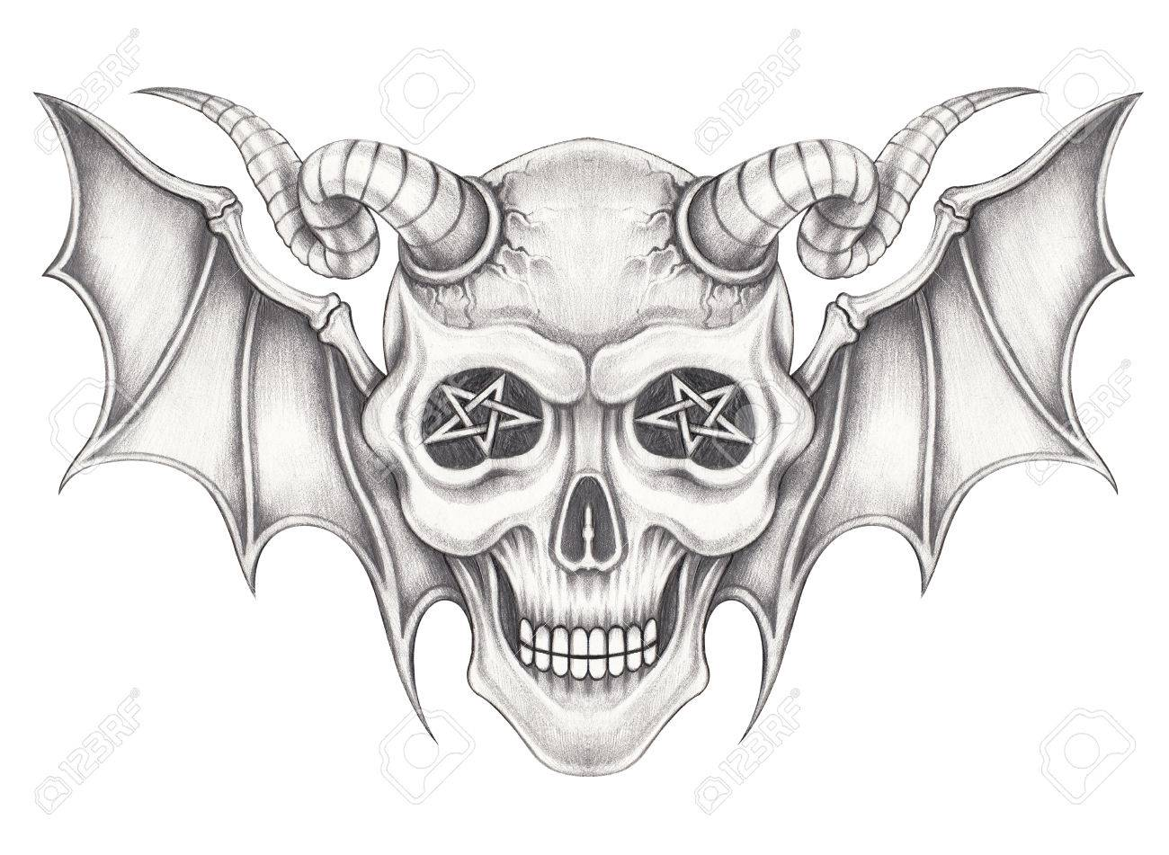 Art wings devil skull hand pencil drawing on paper