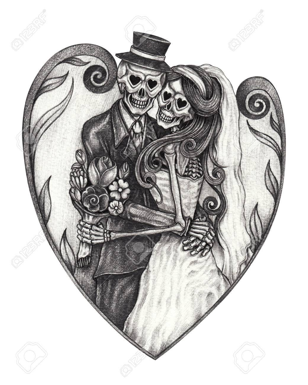 8b09c1dcd Art design wedding skull day of the dead.Hand pencil drawing on paper. Stock