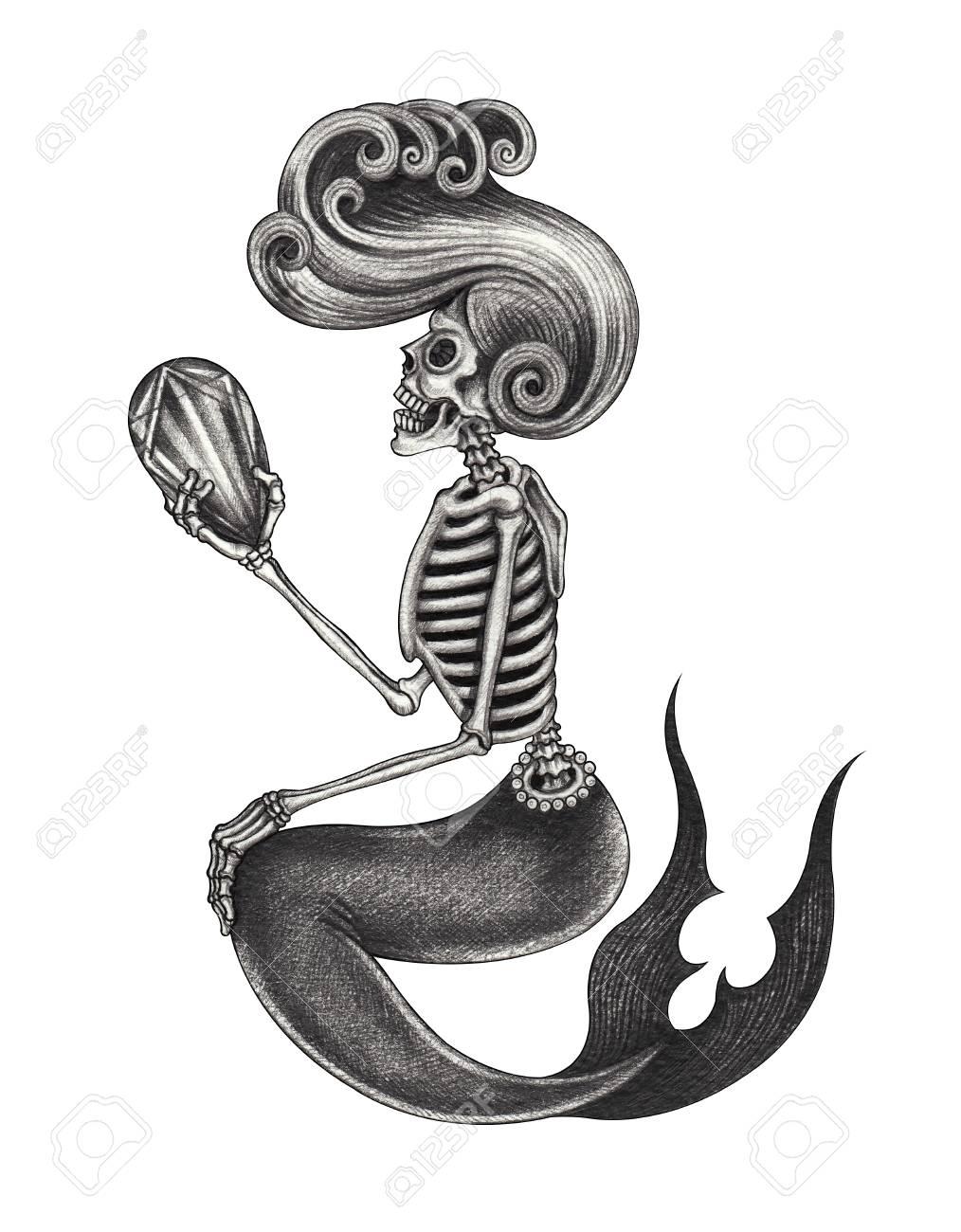 Artdesign Meerjungfrauschädel Handbleistiftzeichnung Auf Papier