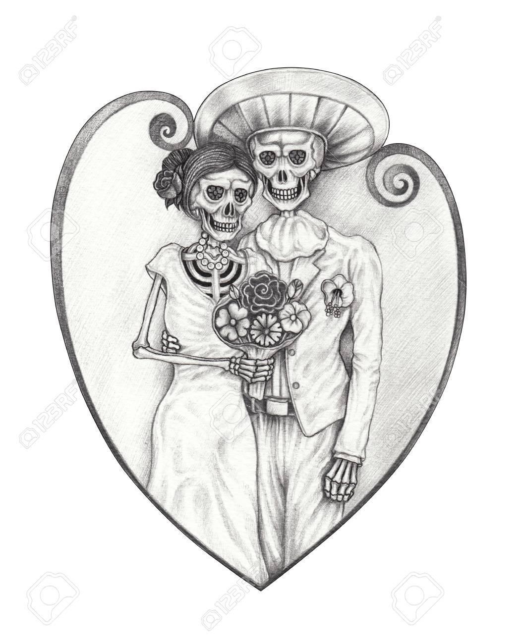 Diseño De Arte Boda Cráneo Día De Los Muertos Dibujo A Lápiz A Mano