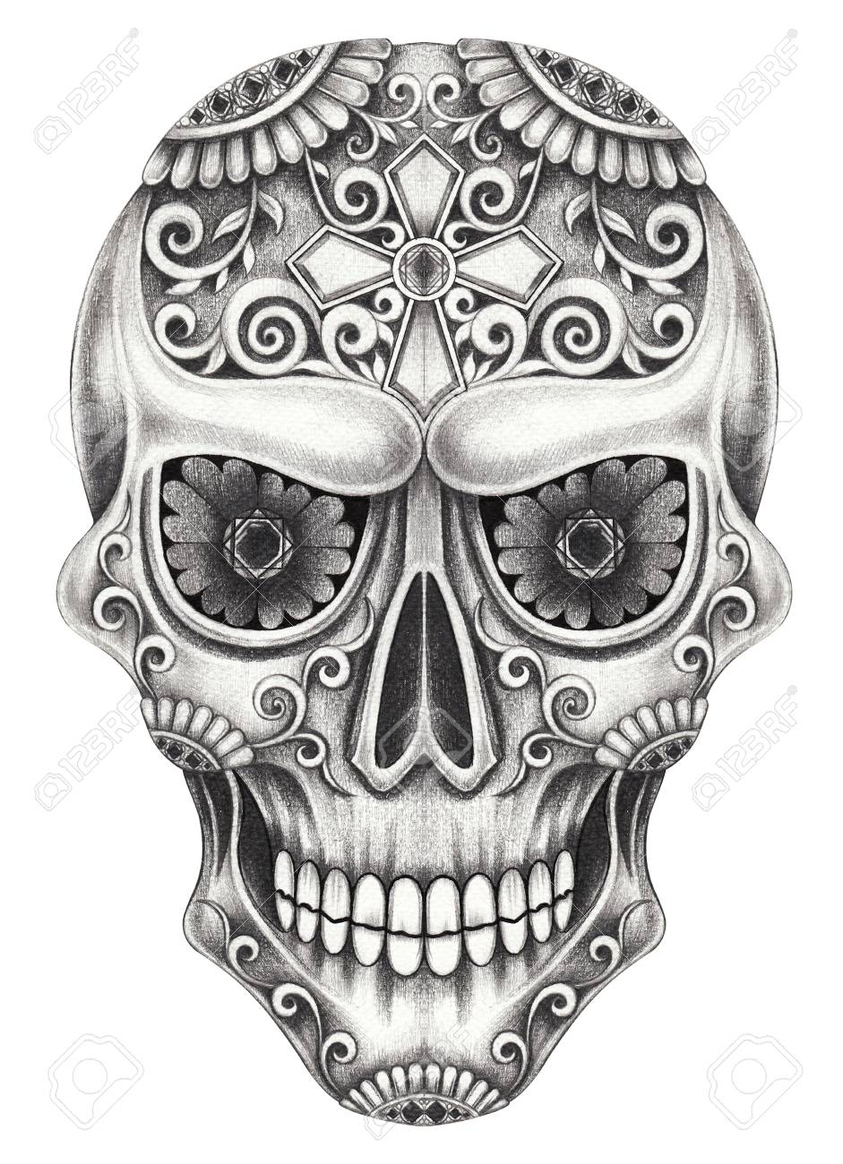 art design sugar skull day of the dad hand pencil drawing on