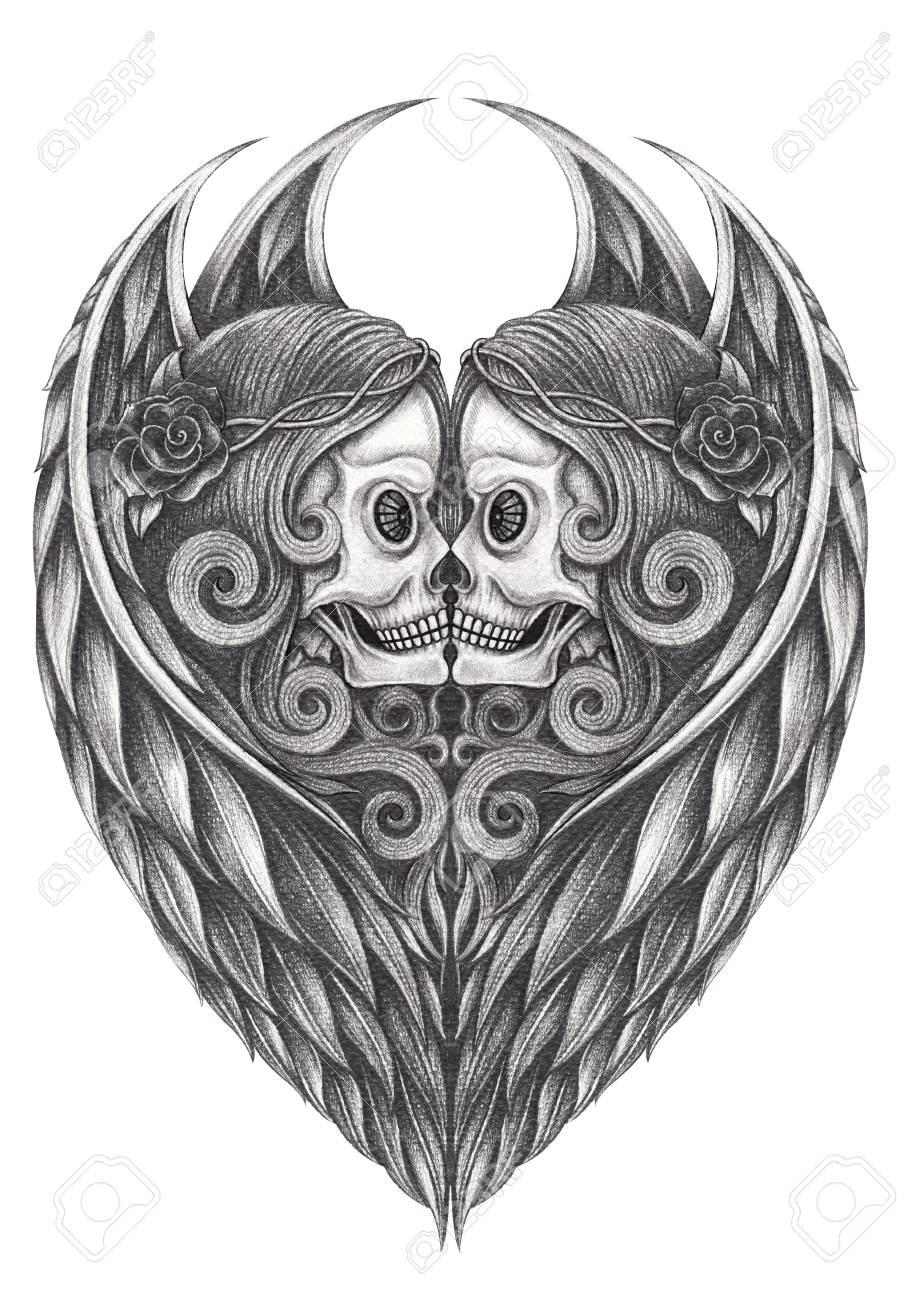 Art design angel skull hand pencil drawing on paper