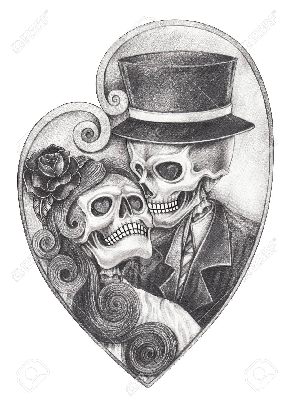 Art romantic skull day of the dead hand pencil drawing on paper stock photo