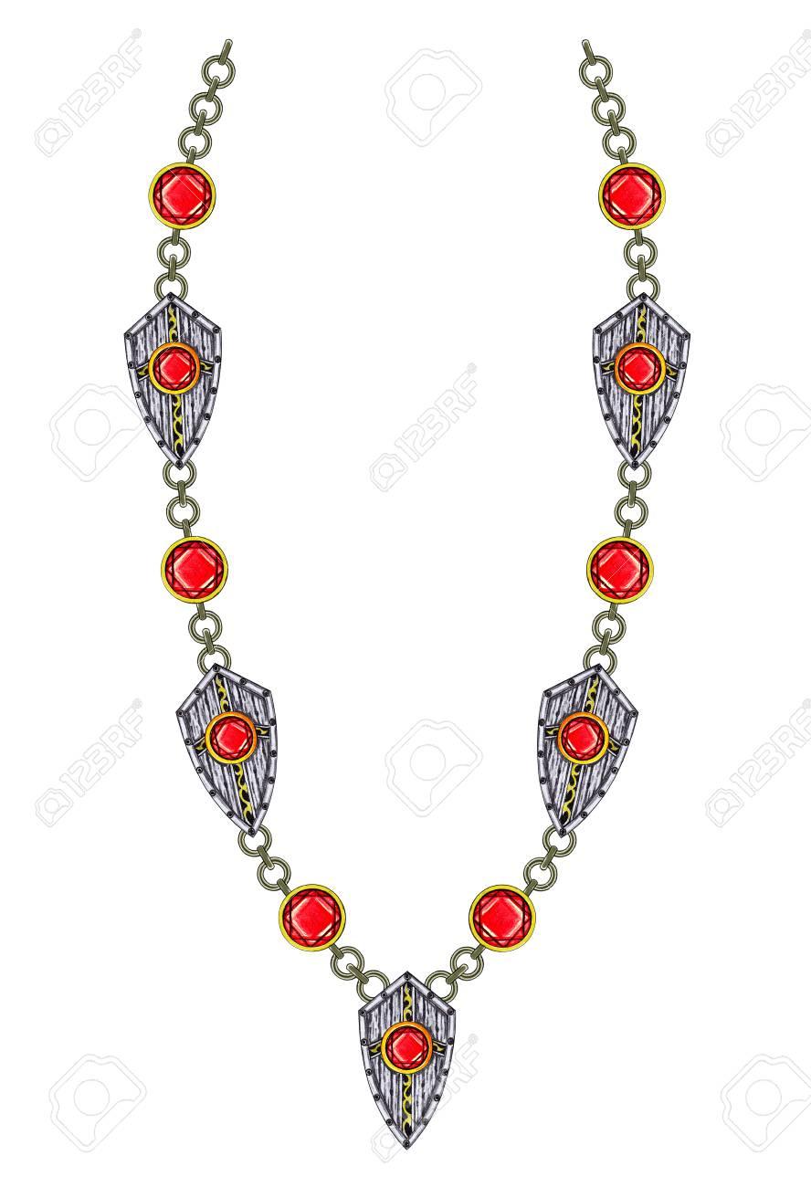 Bijoux Dessin collier d'art de conception de bijoux. dessin à la main et peinture