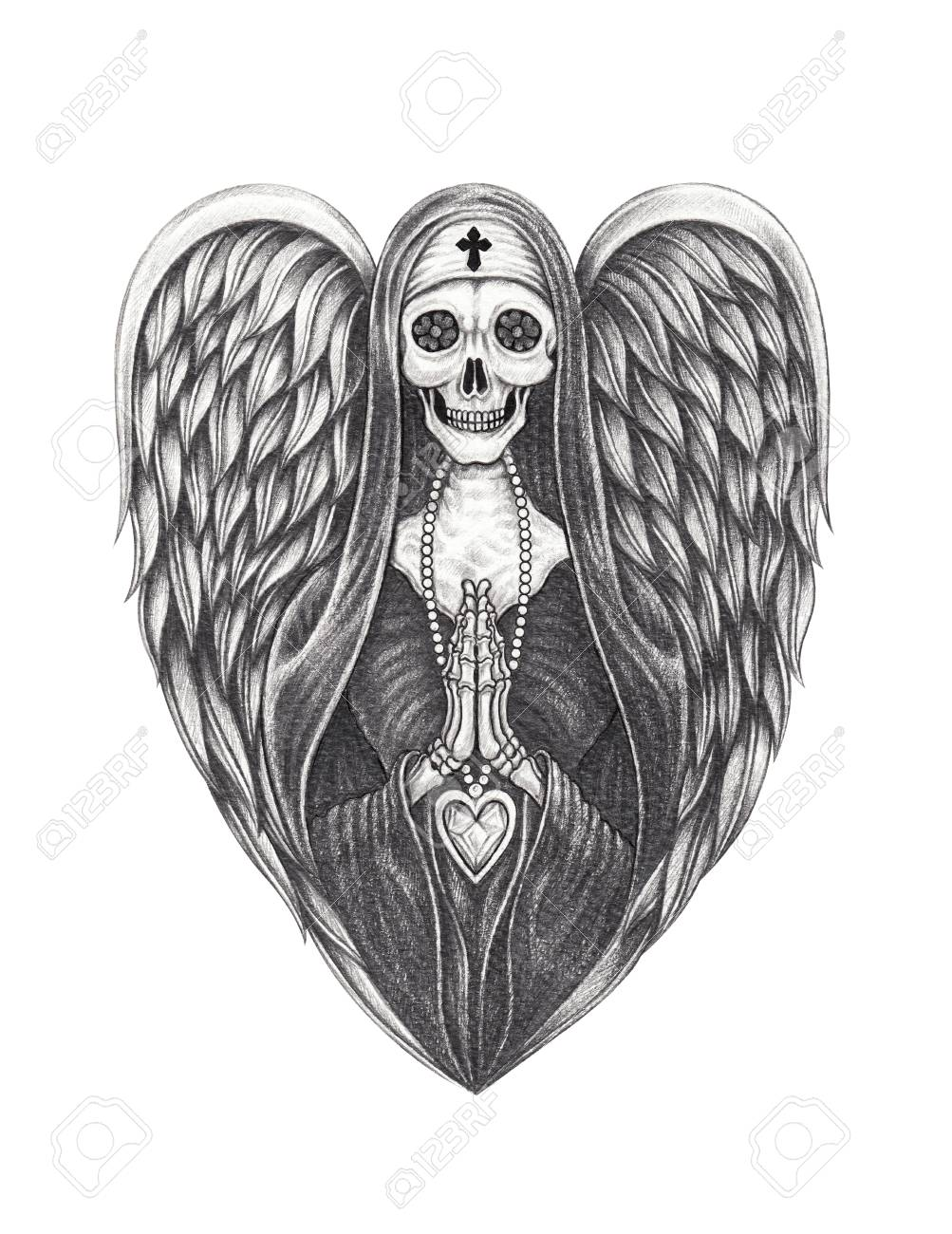 Art angel nun skull hand pencil drawing on paper stock photo 93020314