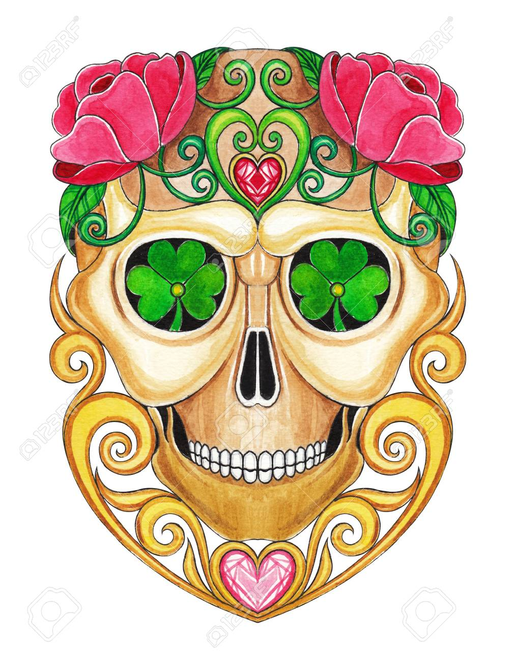 day of the dead watercolor sugar skull 5 x 7 giglee print on, sugar ...