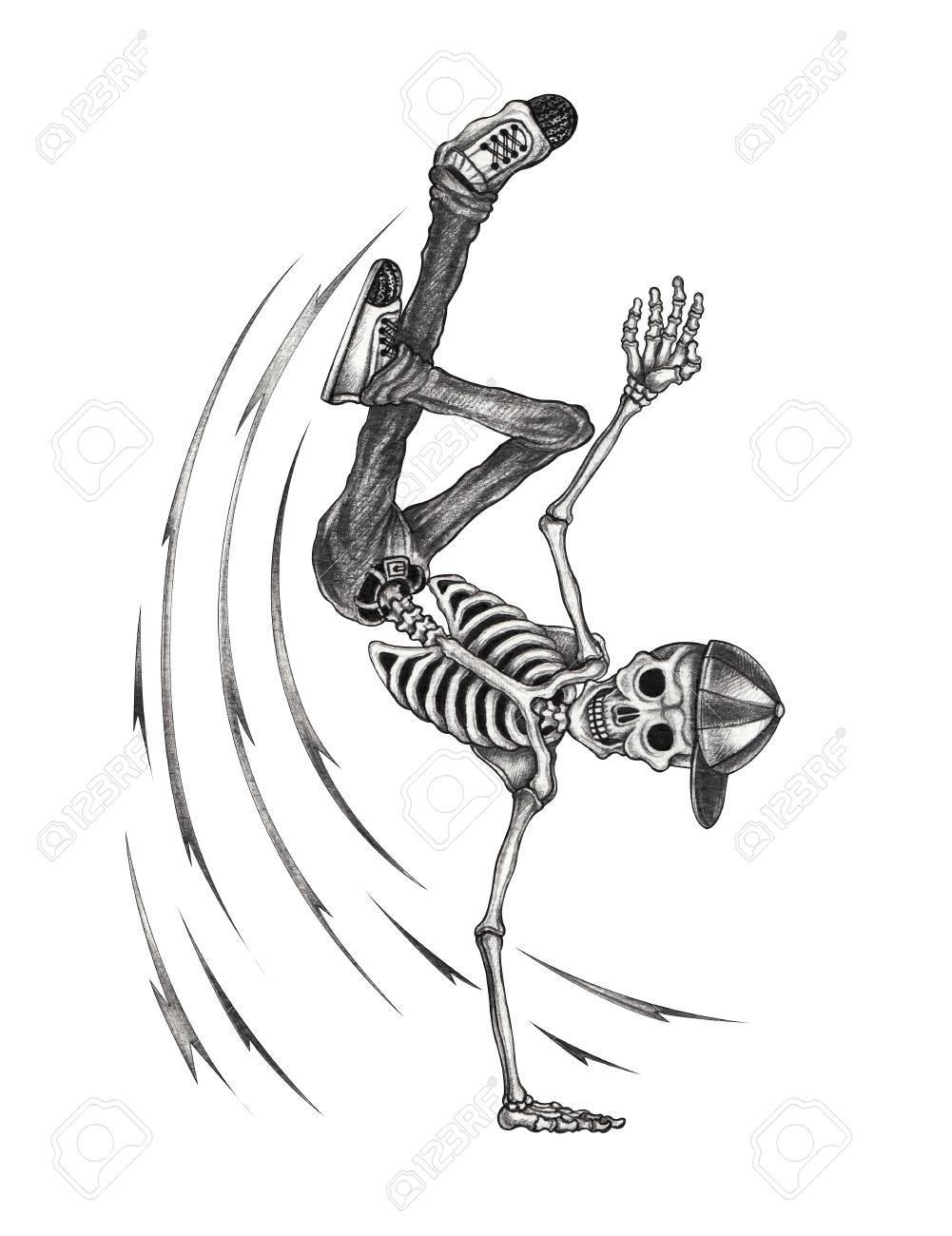 Art b boy dance skull hand pencil drawing on paper stock photo 94807990