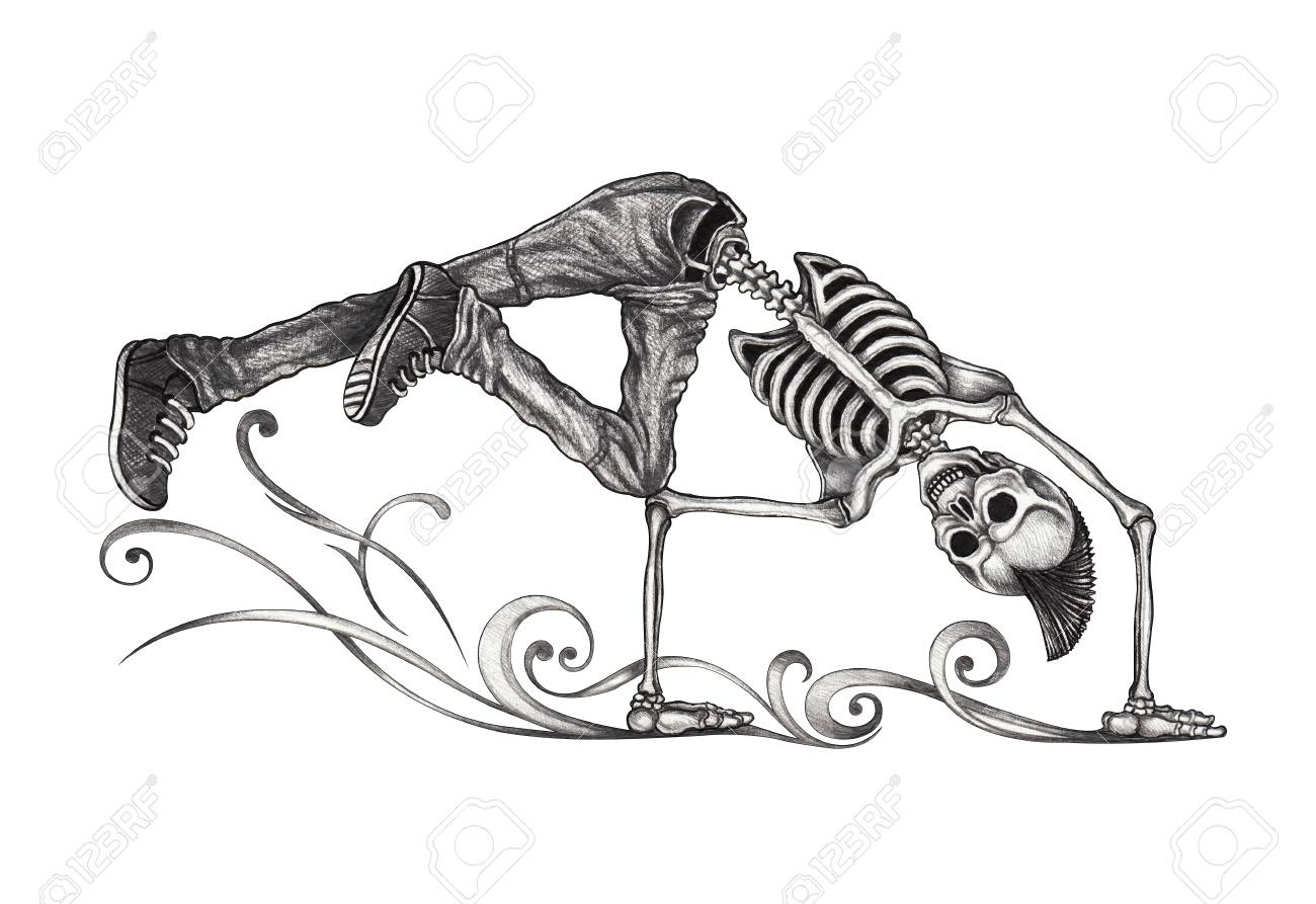 Art b boy dance skull hand pencil drawing on paper stock photo 94807992