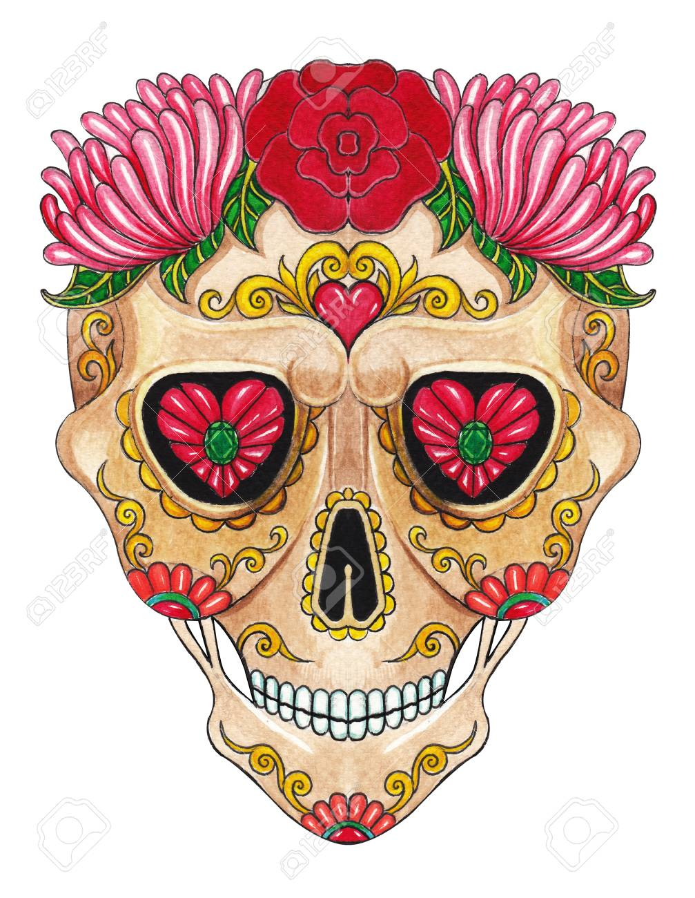 Art Sugar Skull Day Of The Dead Hand Color Painting On Paper Stock Photo Picture And Royalty Free Image Image 96999381