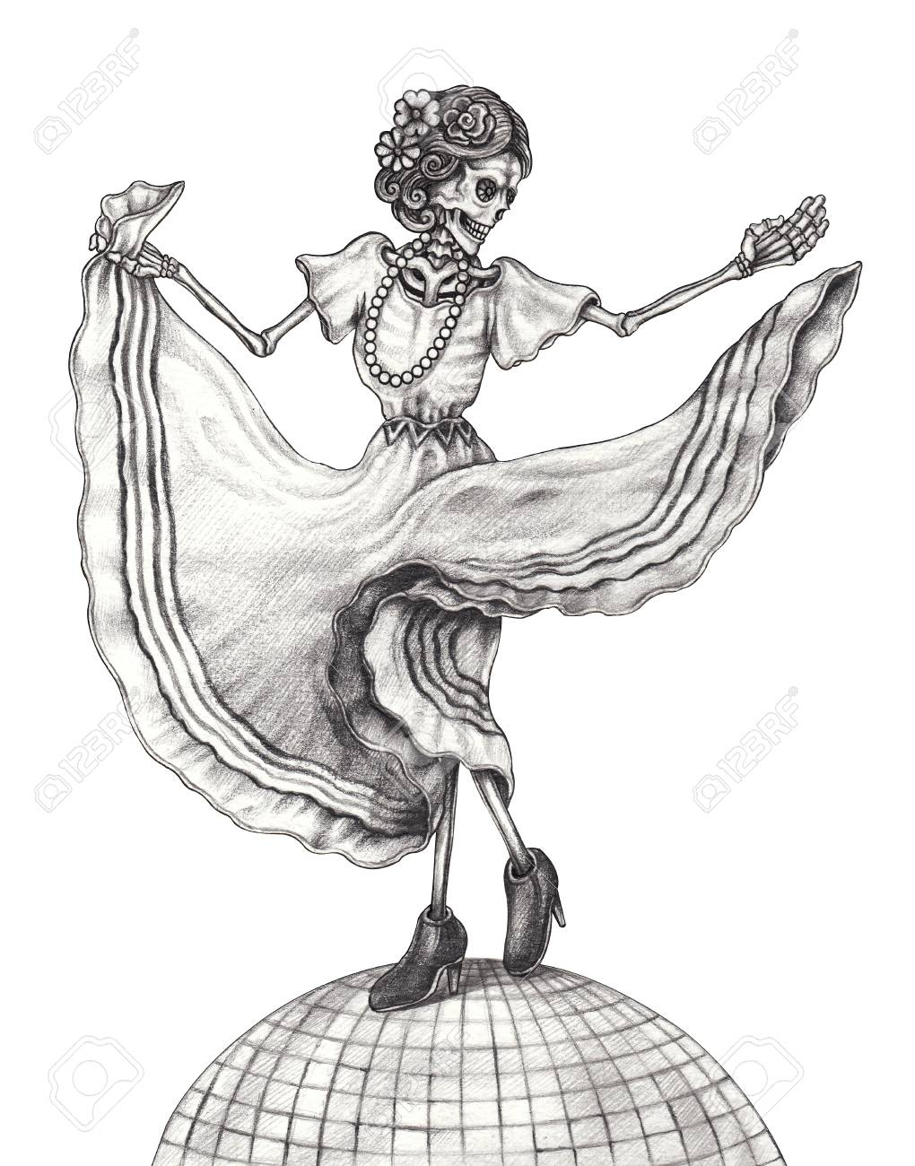 Art women skull dance day of the dead mexican hand pencil drawing on paper