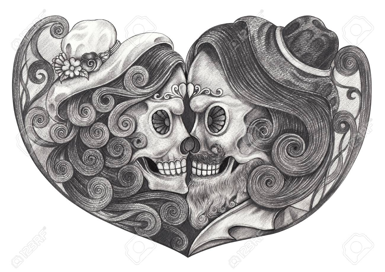 Art in love skull day of the dead hand pencil drawing on paper stock