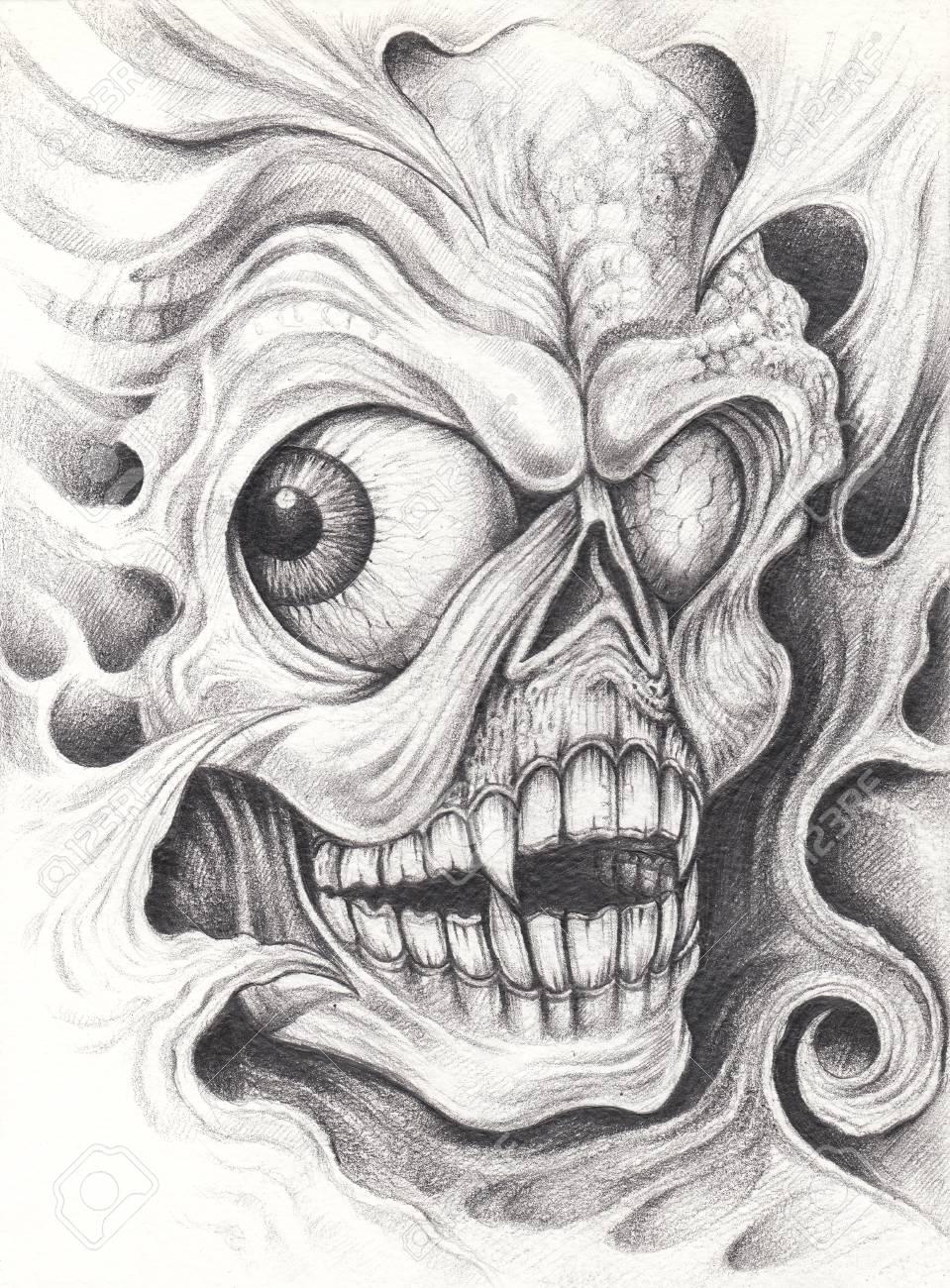 Art surreal skull tattoo hand pencil drawing on paper