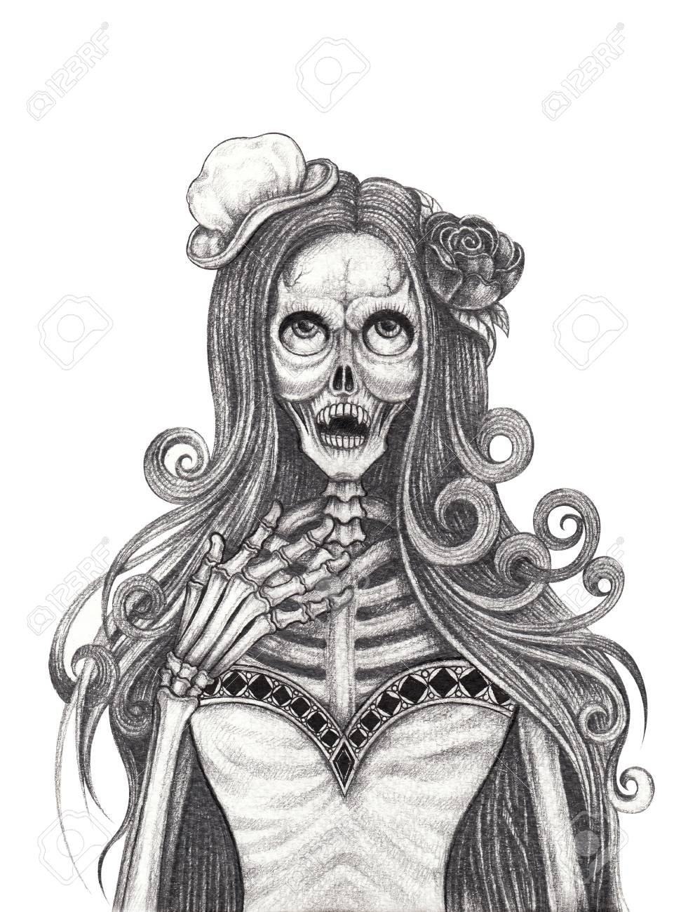 Art vampire skull tattoo hand pencil drawing on paper stock photo 109134914