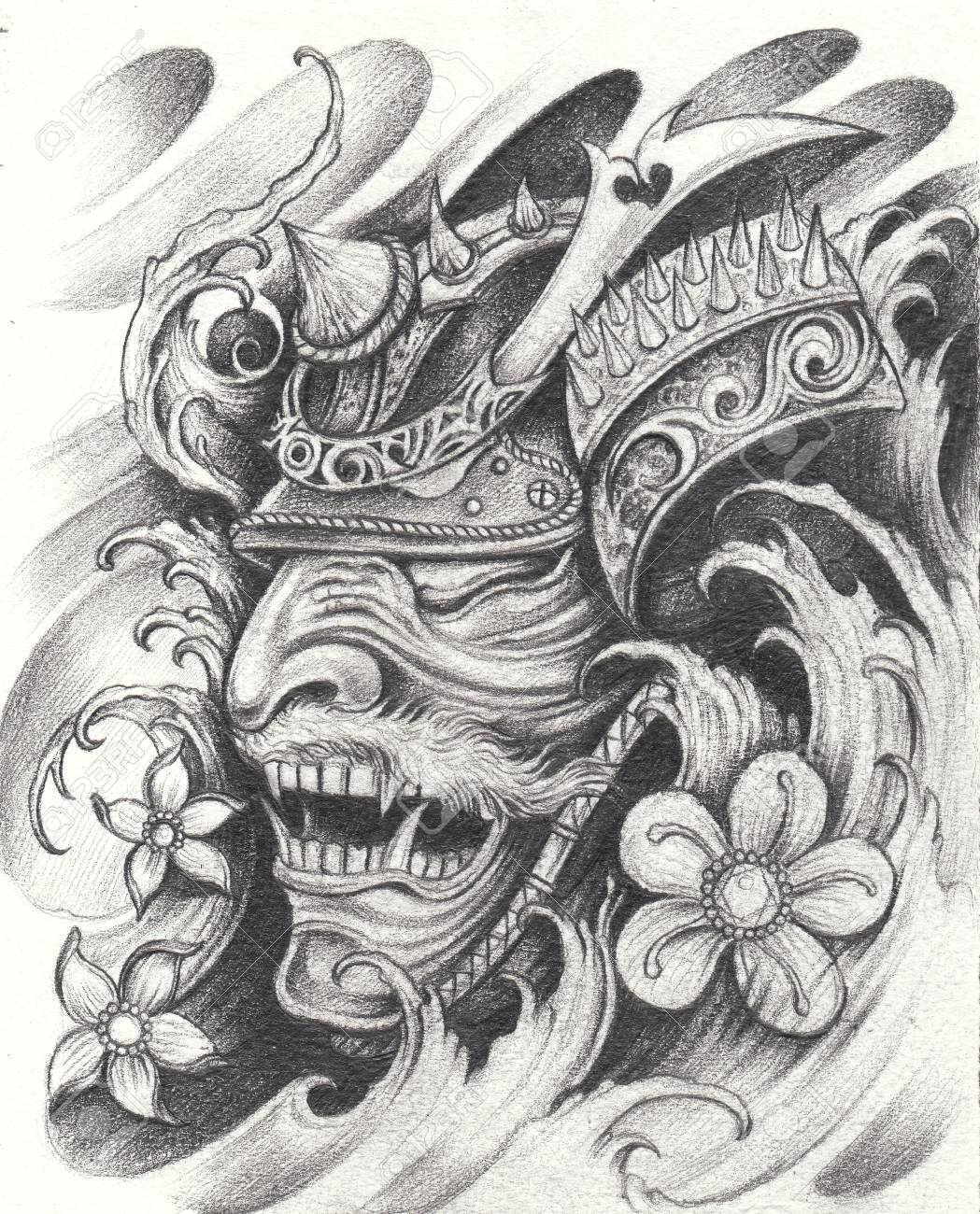 Samurai Warrior Tattoo Design Hand Pencil Drawing On Paper Stock Photo Picture And Royalty Free Image Image 109767756