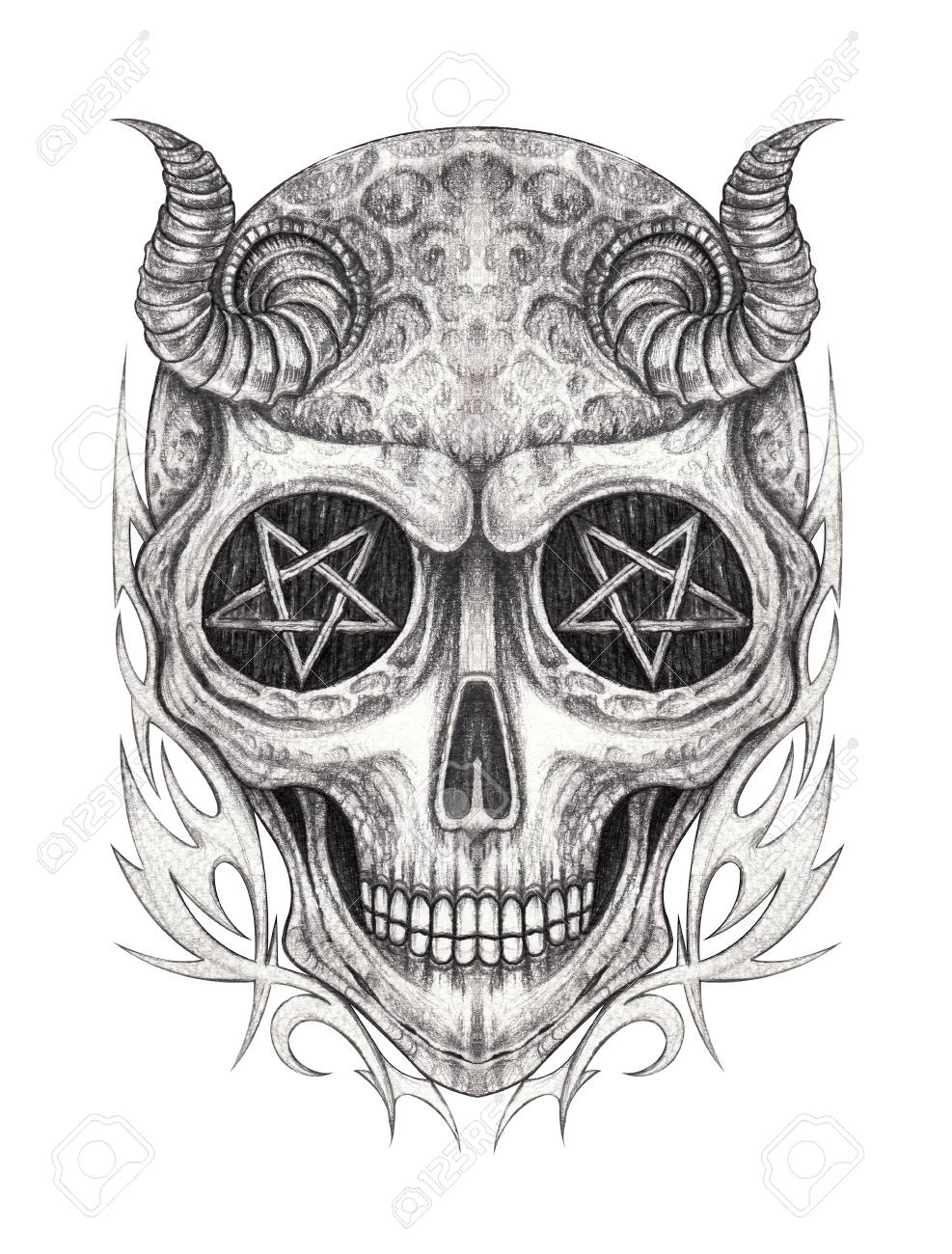 Art devil skull tattoo hand pencil drawing on paper stock photo 110774242