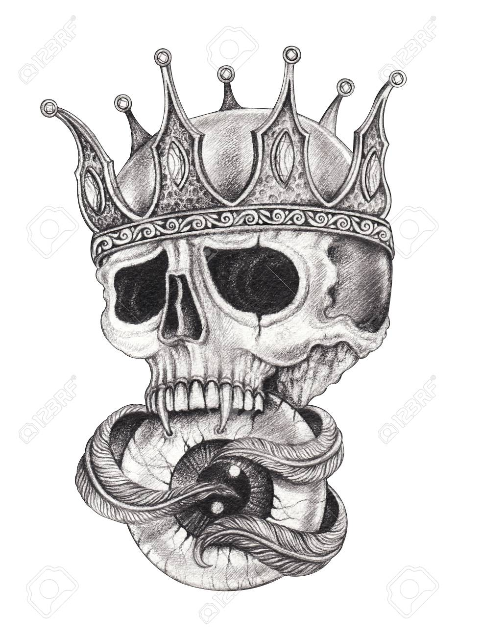 f712405596472 Art Surreal King Skull Tattoo. Hand drawing on paper. Stock Photo -  116759526