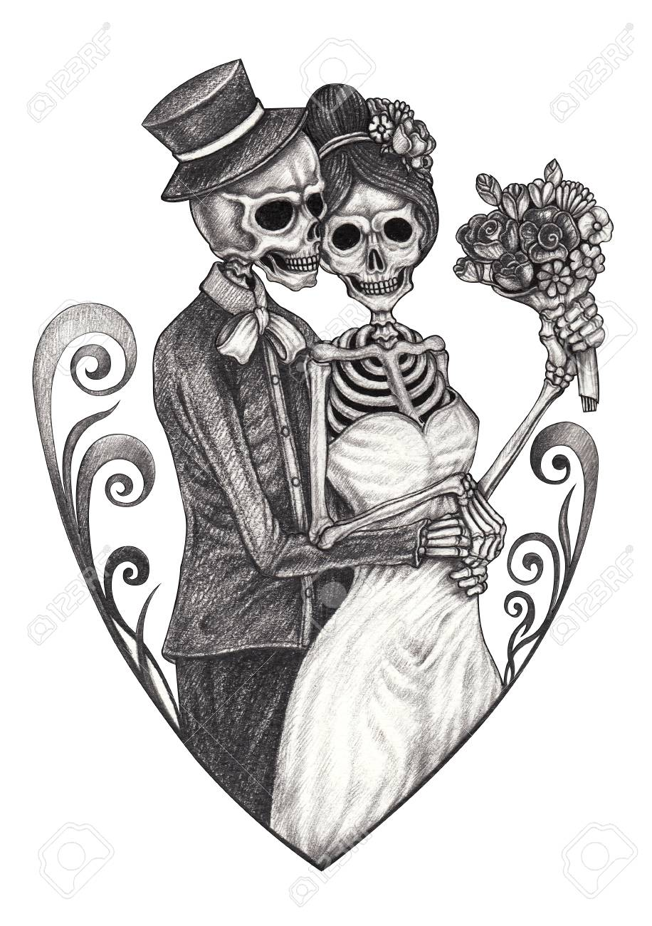 Art Wedding Couple Skulls.Hand drawing on paper. - 125205206
