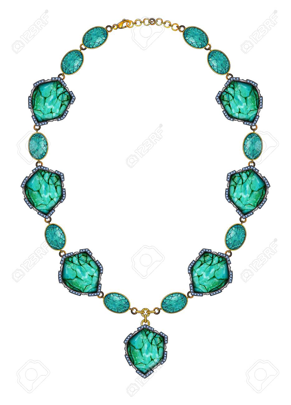Jewellery Design Art Turquoise Stone Necklace Hand Drawing And