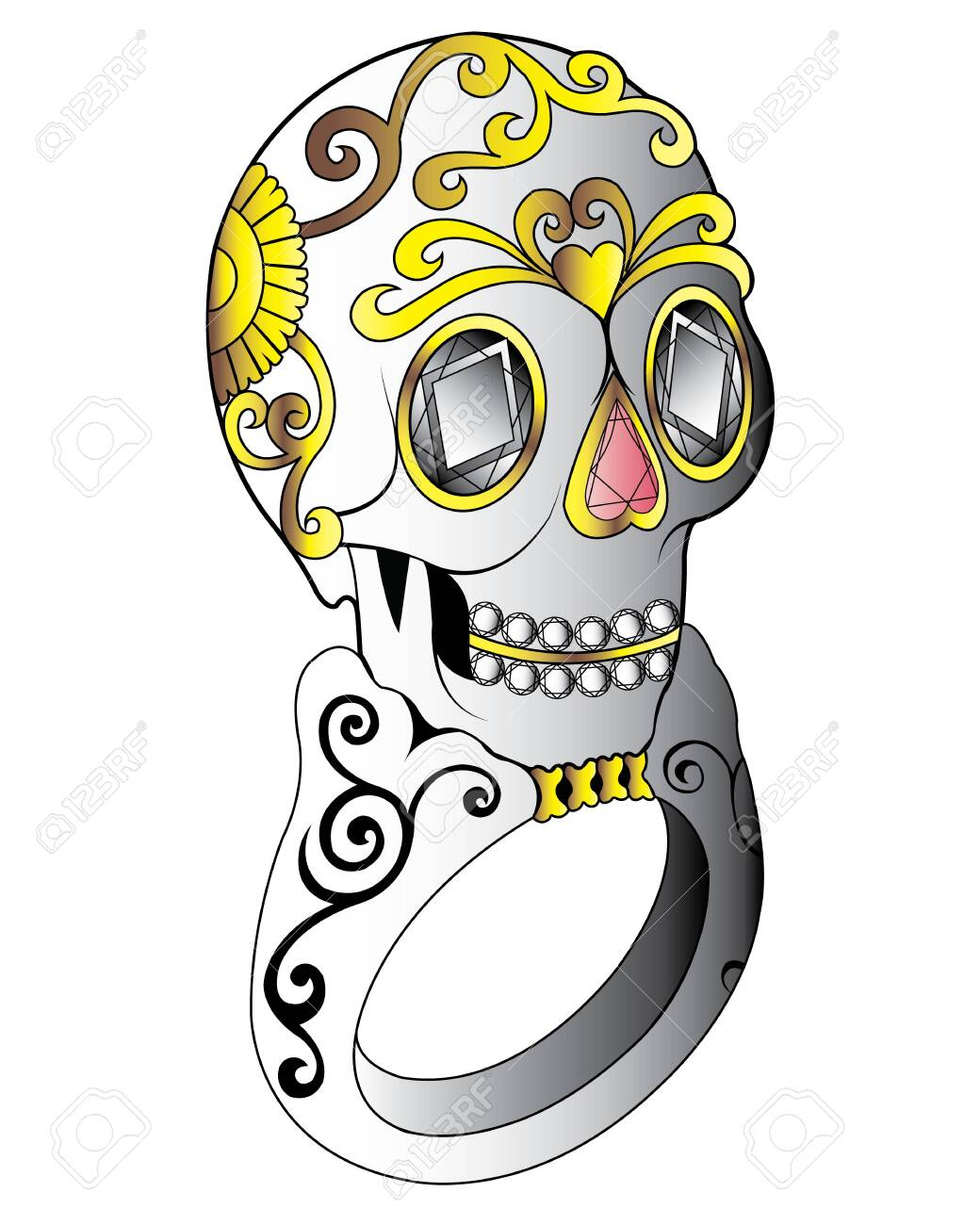 Jewelry Design Sugar Skull Ring. Hand drawing and painting on paper. - 144041070