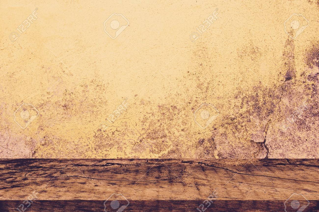 Empty Wooden Table Over Dark Brown Wall Background Stock Photo ...
