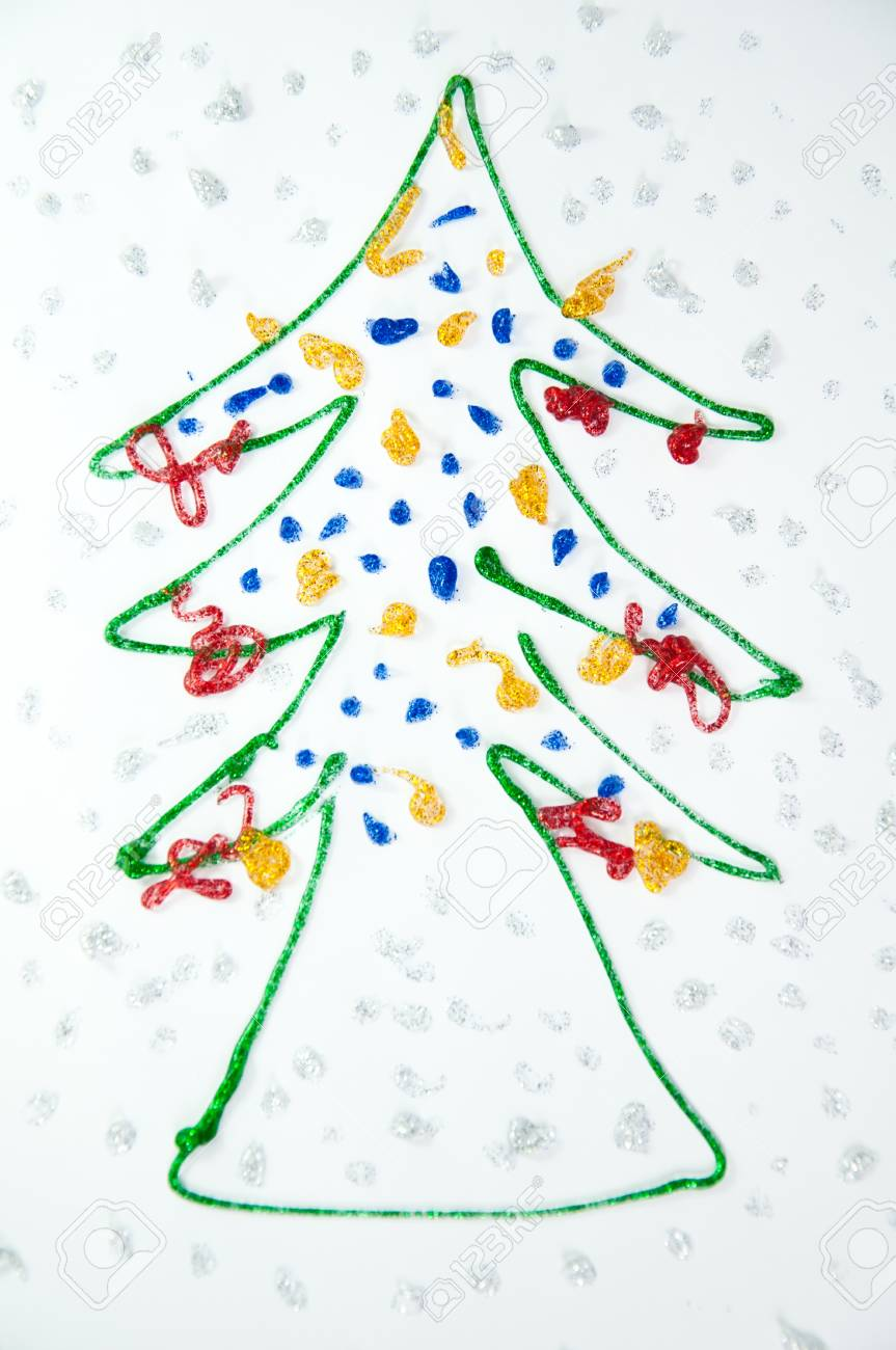 Christmas Tree Draw By Kids Stock Photo Picture And Royalty Free