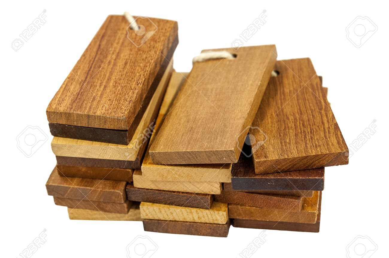 Sample Pieces Various Kind Of Wooden For Decoration Construction Isolated On White Background Stock Photo