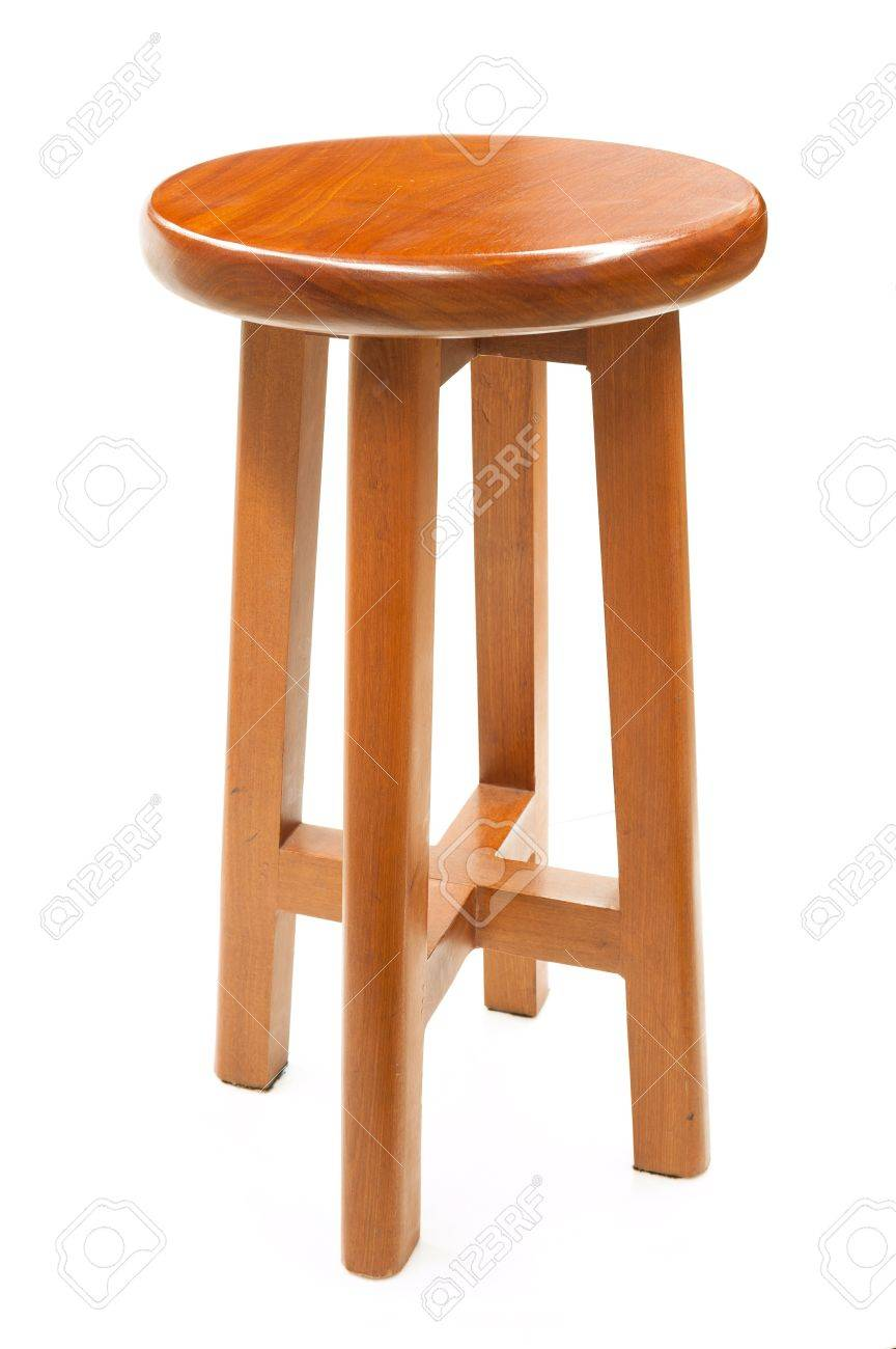 Phenomenal Round Top Maka Wood Stool Isolated On White Background Pabps2019 Chair Design Images Pabps2019Com