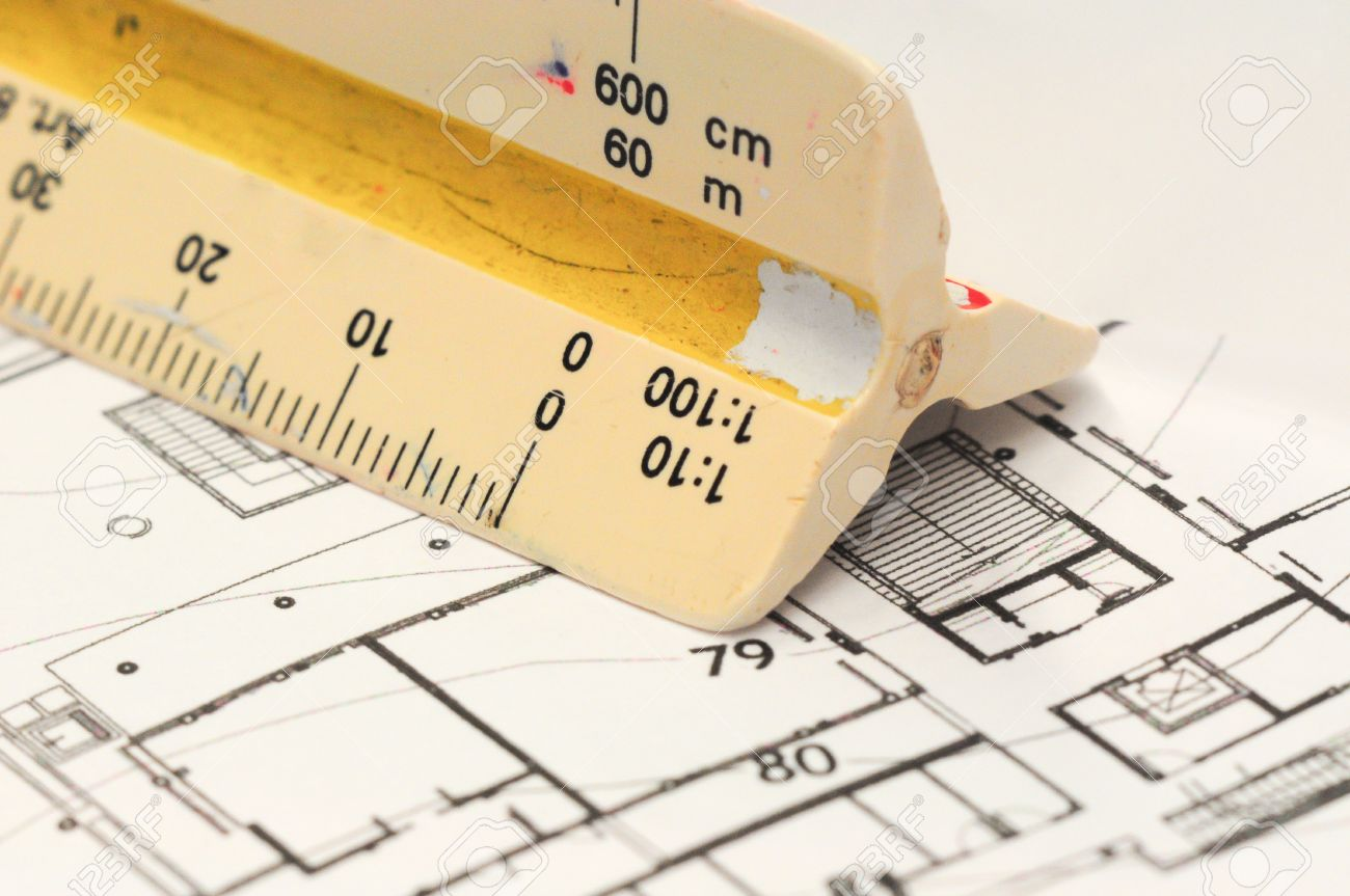 Architect S Drawing Tools Architectural With Old Scale Ruler Stock Photo