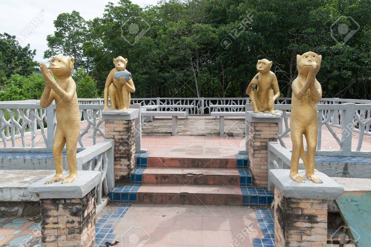 Monkey statue at mangrove forest, phuket Thailand Stock Photo - 16974552