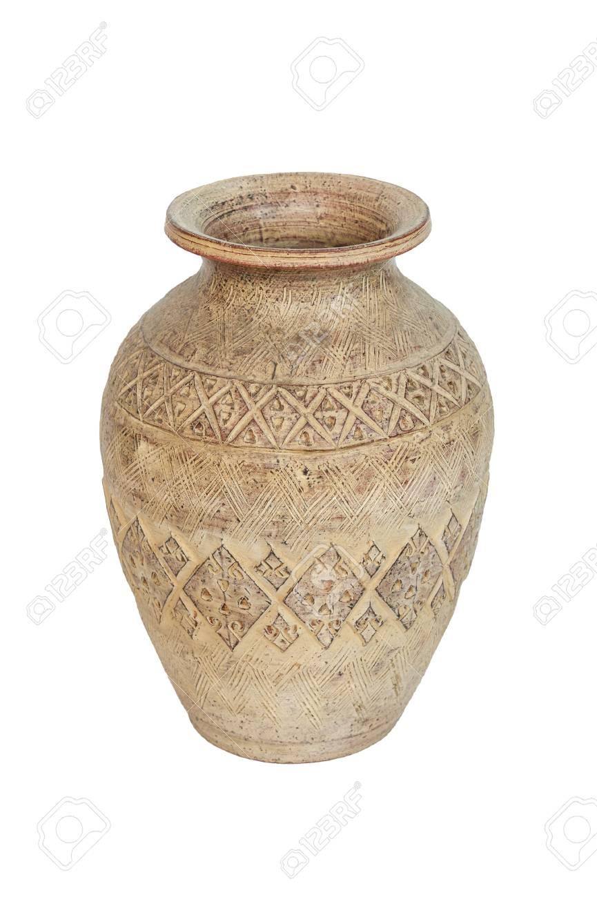 antique ceramic vase on white background Stock Photo - 17174430