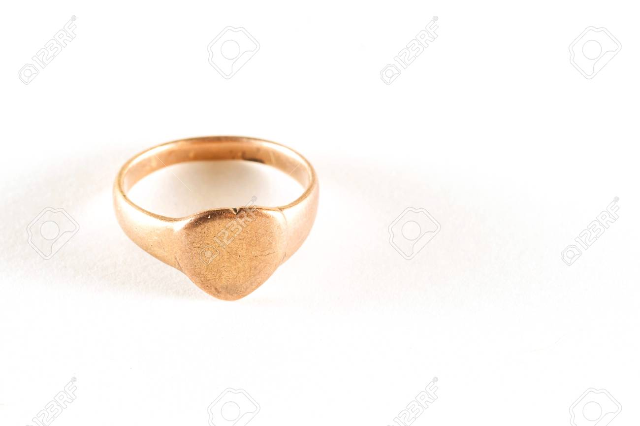 copper alloy ring heart shape on white Stock Photo - 17636160