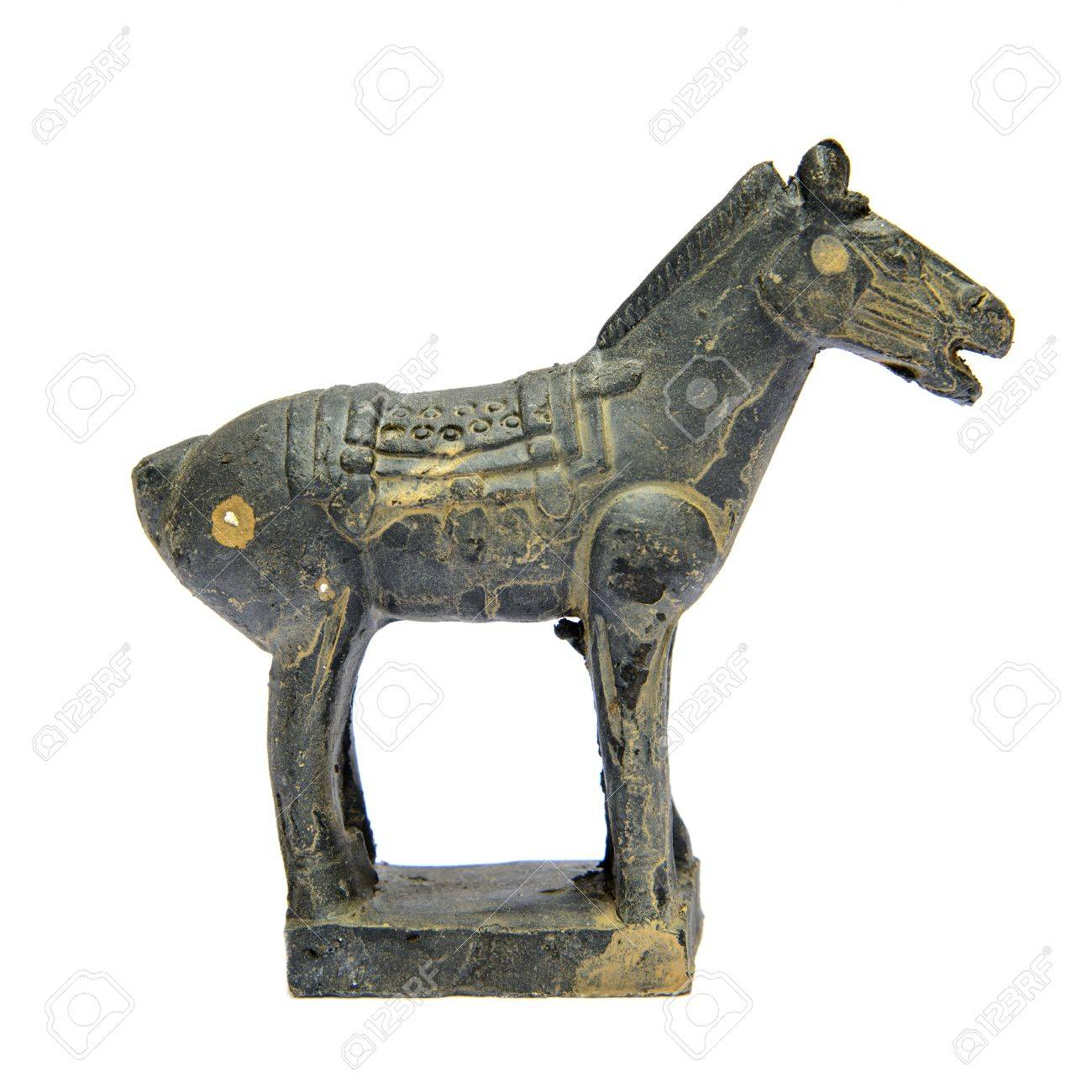 Ancient terracotta sculptures of Chinese warrior horse on white background Stock Photo - 19014645