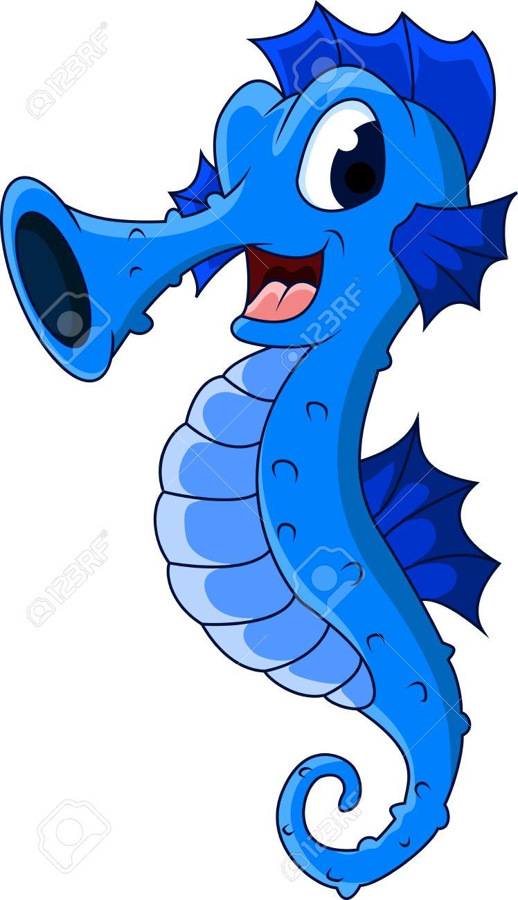 cute seahorses cartoon Stock Vector - 19532794