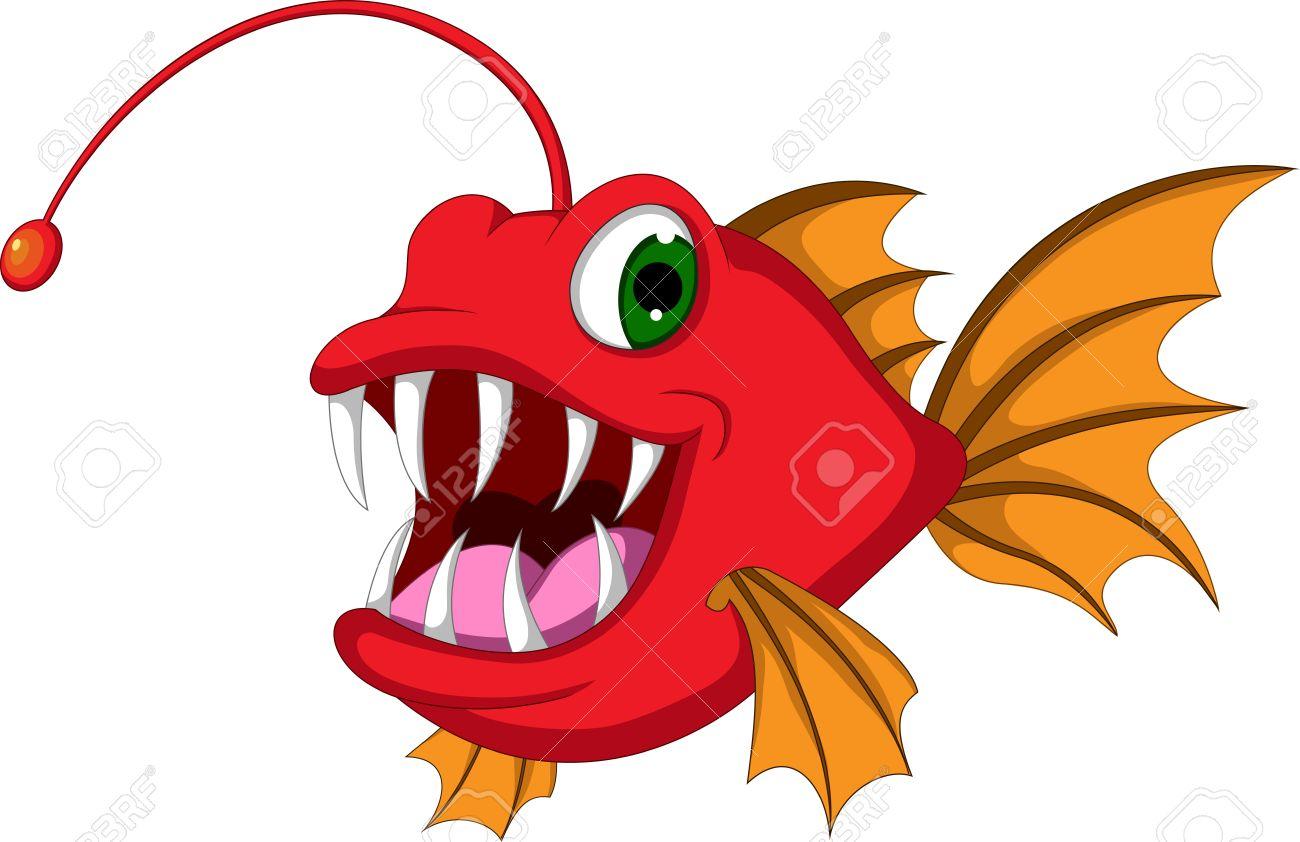 red monster fish cartoon Stock Vector - 20721034