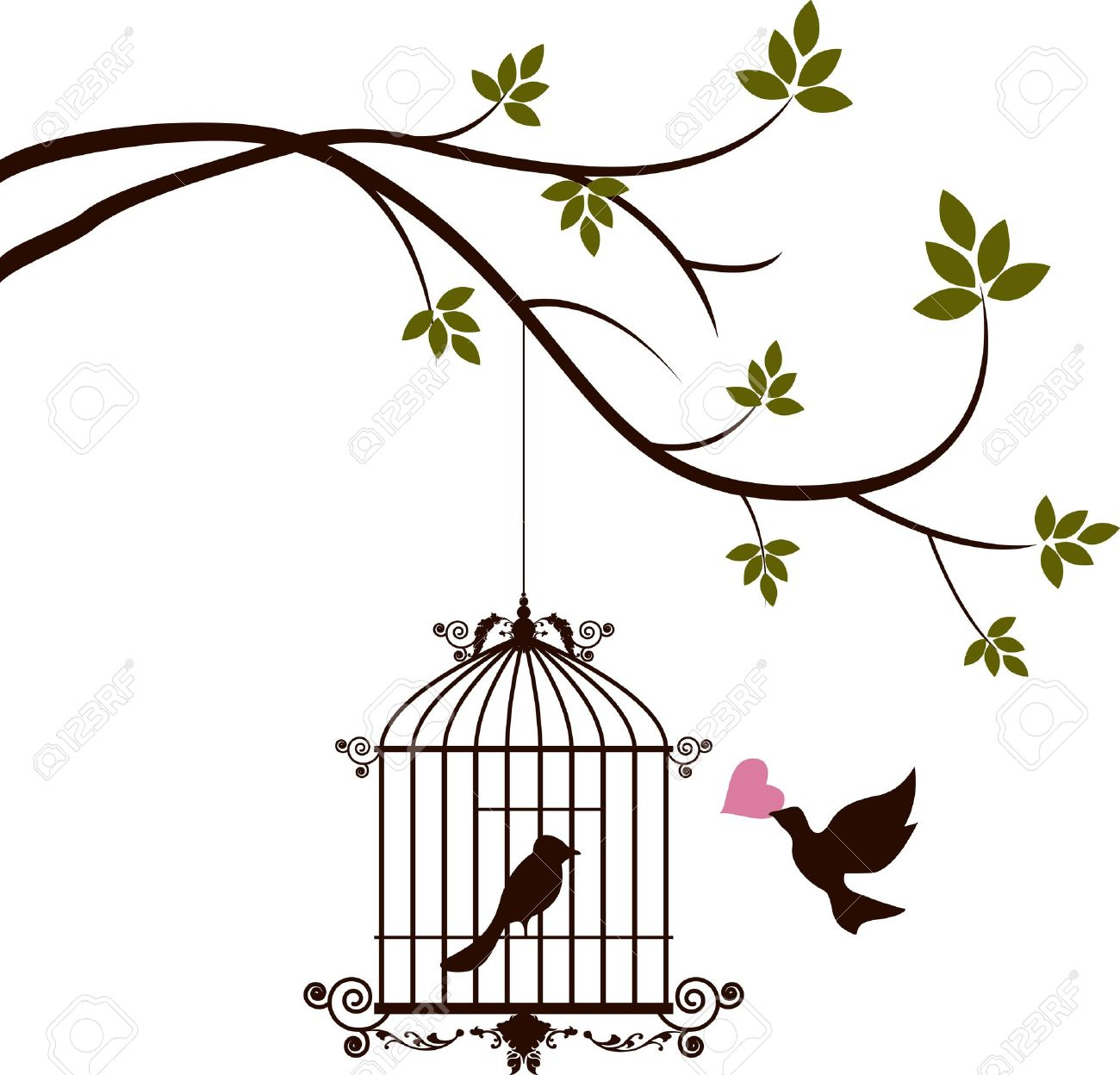 bird are bringing love to the bird in the cage royalty free cliparts rh 123rf com