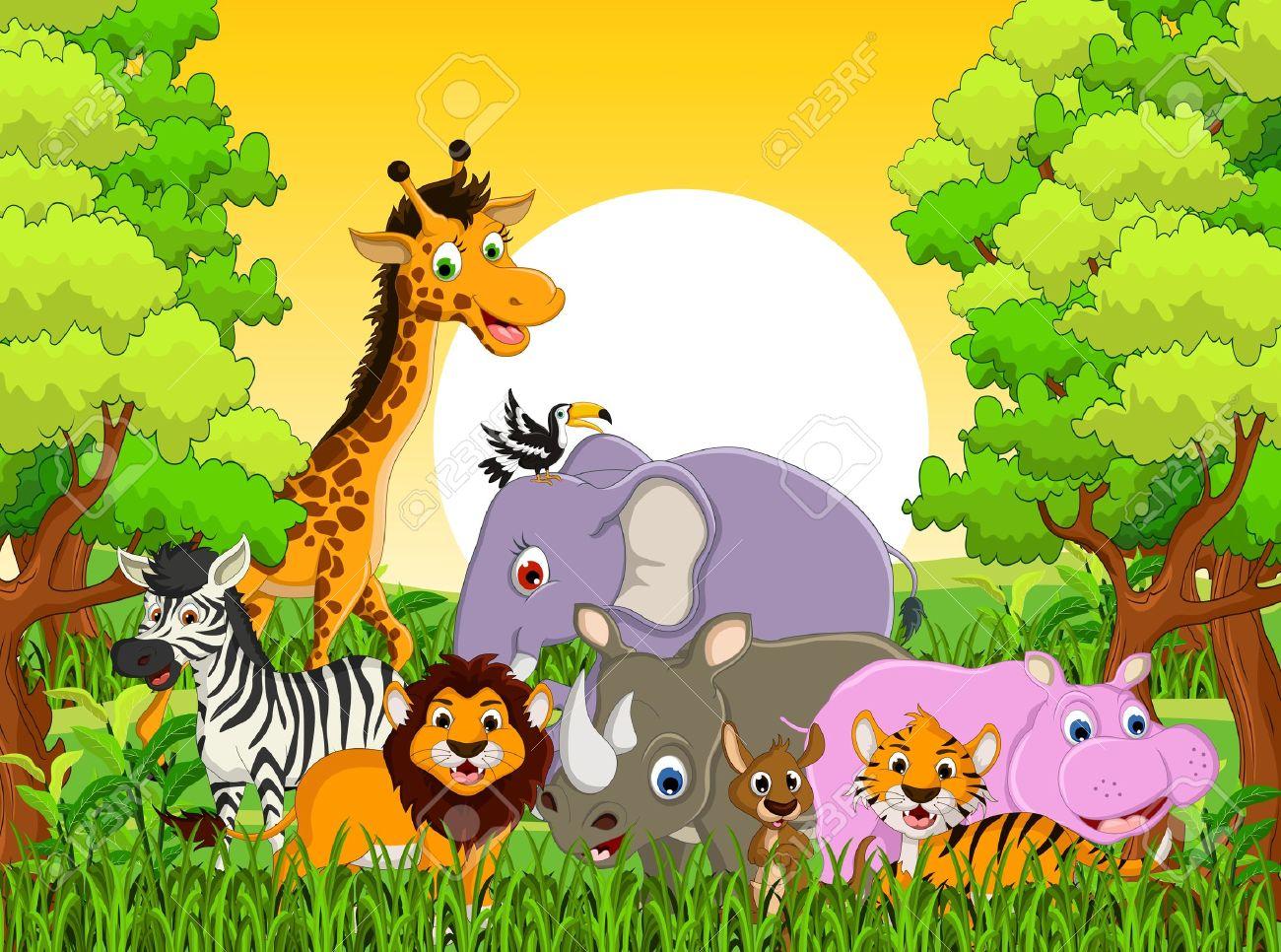 森林の背景とかわいい動物野生動物漫画のイラスト ロイヤリティフリー