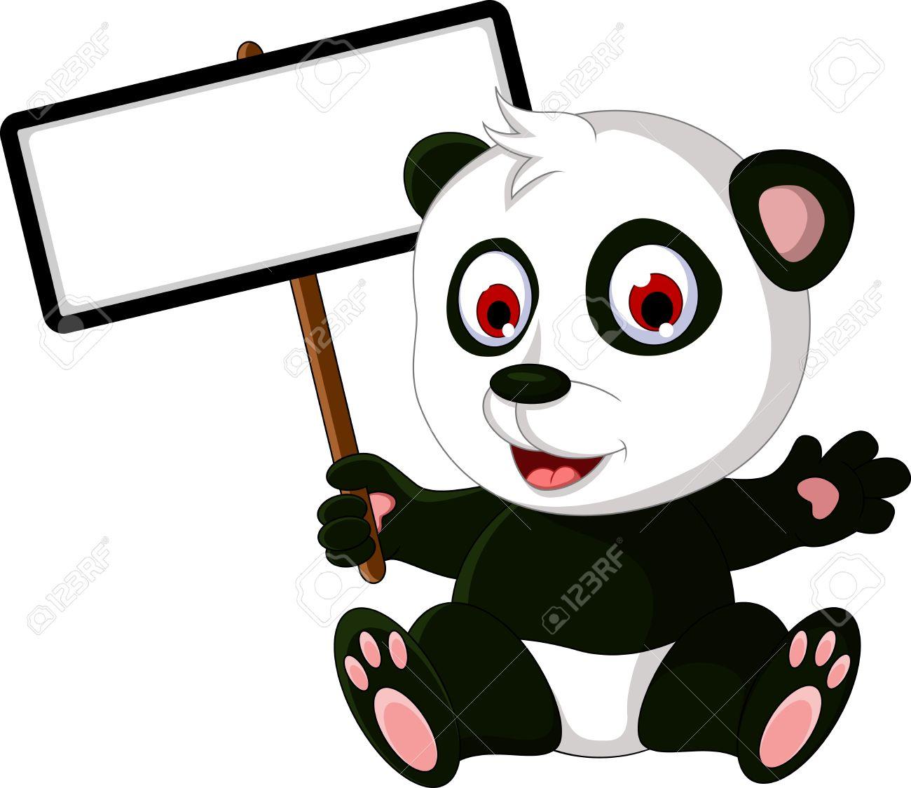 cute cartoon panda posing with white board royalty free cliparts rh 123rf com Cute Cartoon Unicorns Cute Cartoon Unicorns