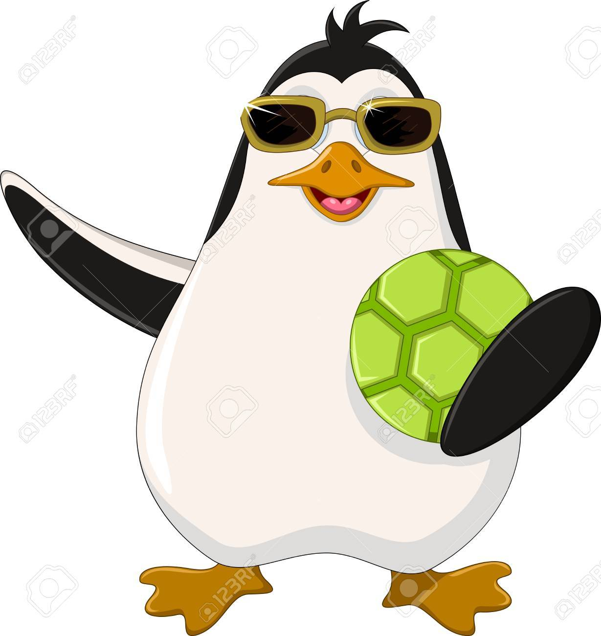 Cute penguin cartoon holding green ball Stock Vector - 23298411